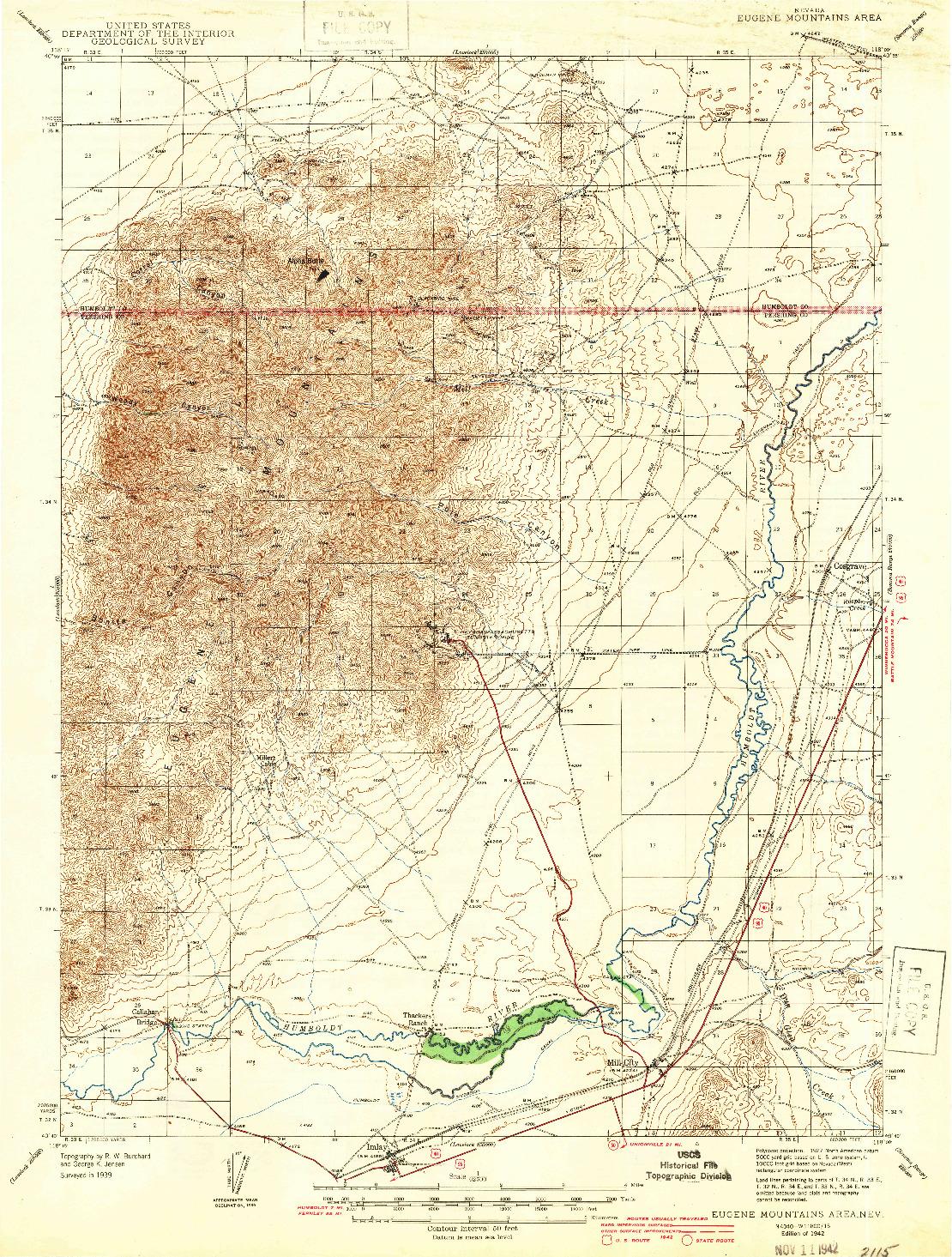 USGS 1:62500-SCALE QUADRANGLE FOR EUGENE MOUNTAINS AREA, NV 1942