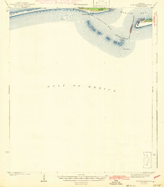 USGS 1:62500-SCALE QUADRANGLE FOR FORT MORGAN, AL 1942