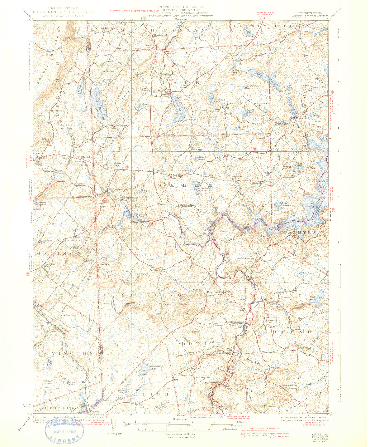 USGS 1:62500-SCALE QUADRANGLE FOR ARIEL, PA 1932