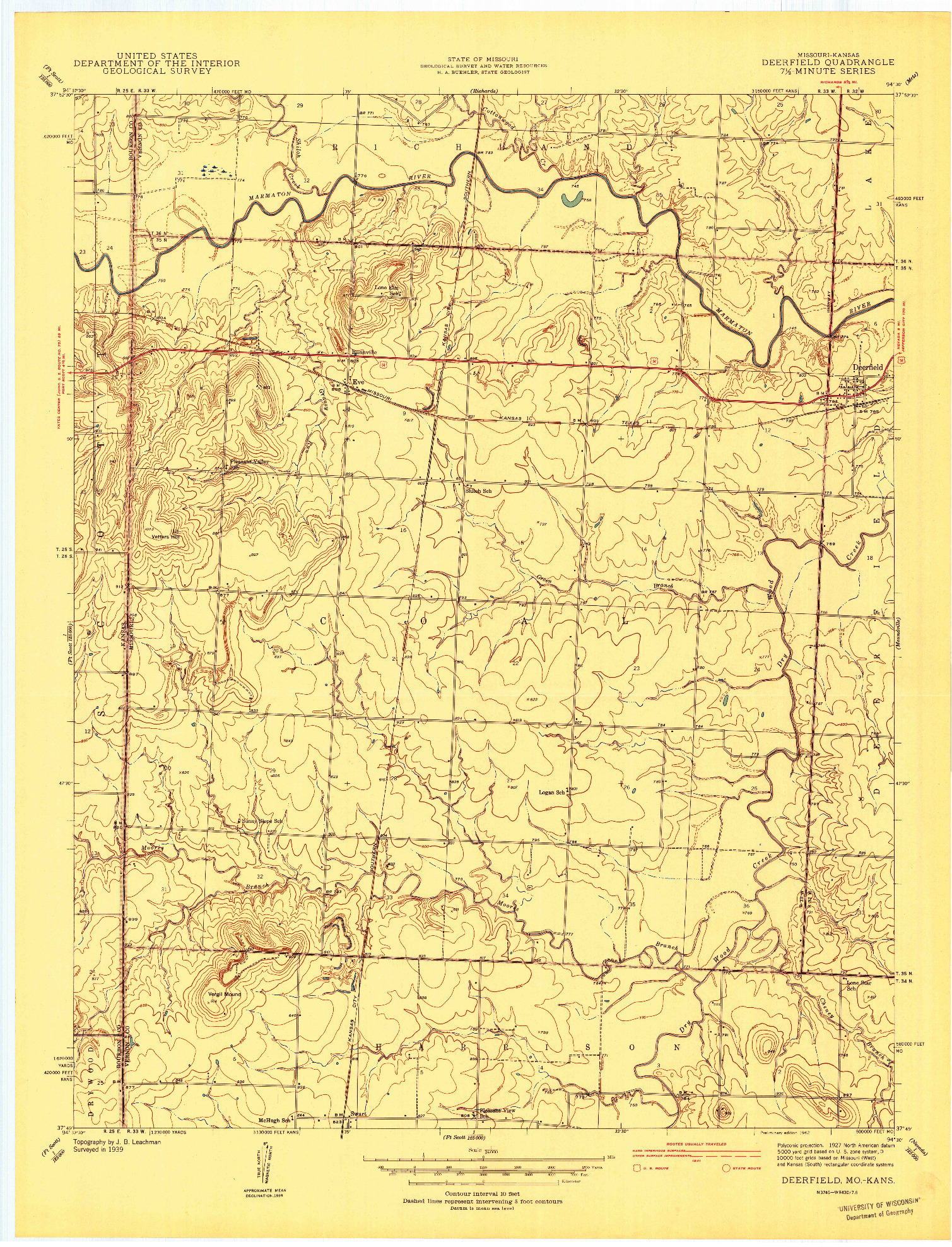 USGS 1:24000-SCALE QUADRANGLE FOR DEERFIELD, MO 1942