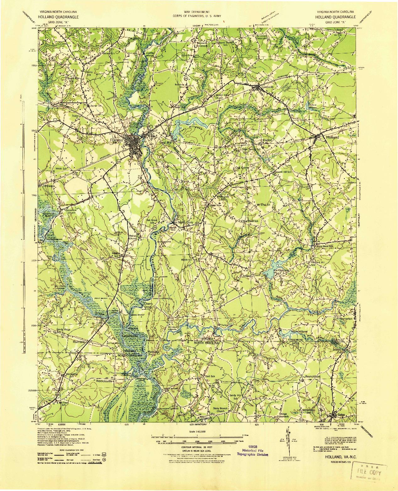 USGS 1:62500-SCALE QUADRANGLE FOR HOLLAND, VA 1943