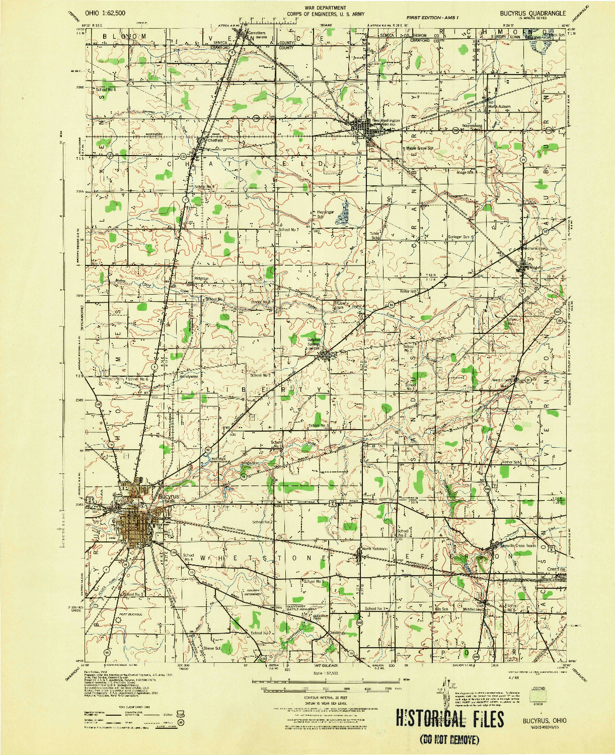 USGS 1:62500-SCALE QUADRANGLE FOR BUCYRUS, OH 1943