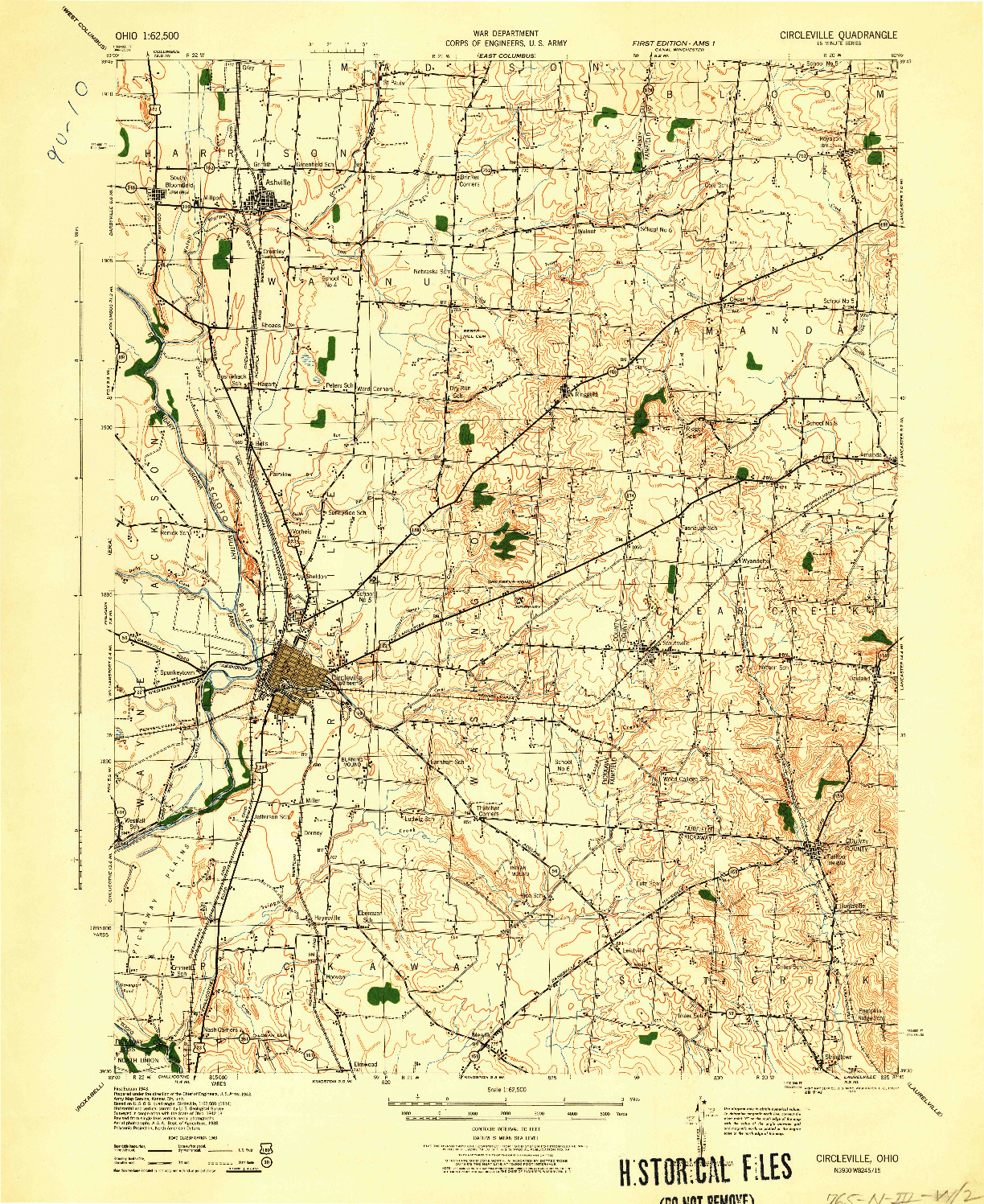USGS 1:62500-SCALE QUADRANGLE FOR CIRCLEVILLE, OH 1943