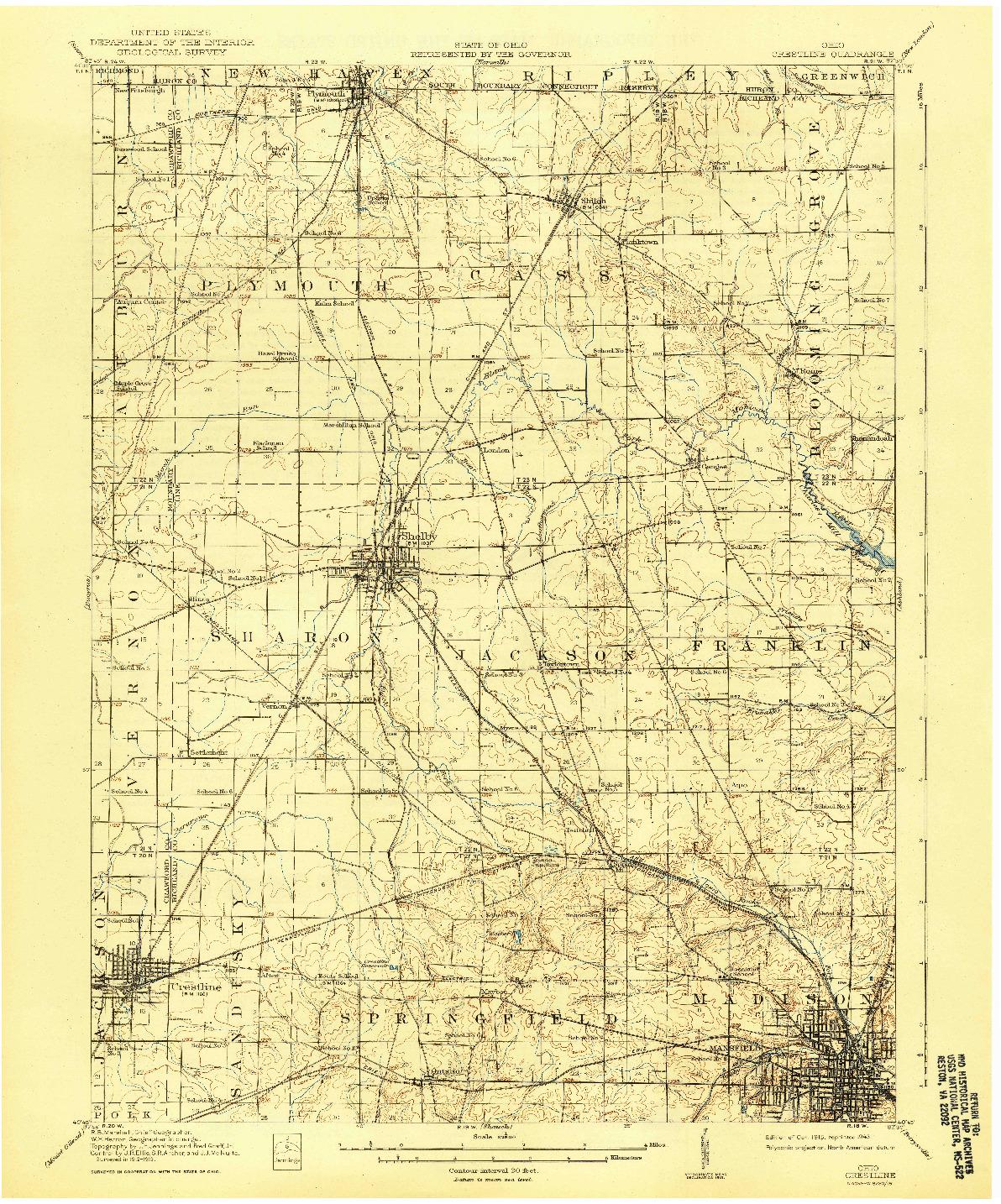 USGS 1:62500-SCALE QUADRANGLE FOR CRESTLINE, OH 1915