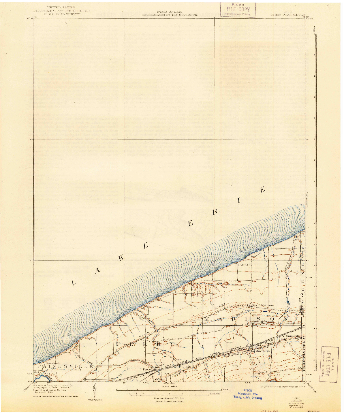 USGS 1:62500-SCALE QUADRANGLE FOR PERRY, OH 1905