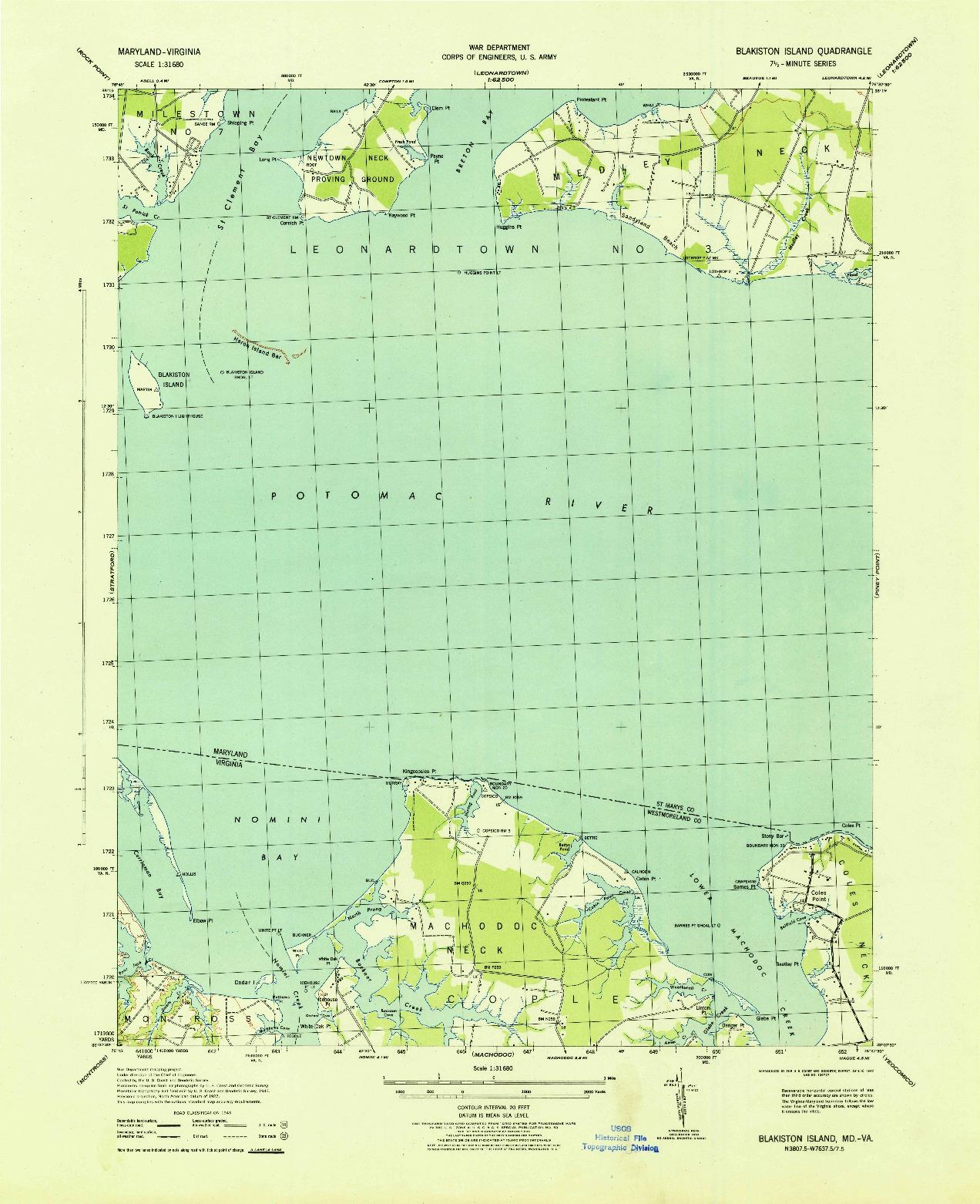 USGS 1:31680-SCALE QUADRANGLE FOR BLAKISTON ISLAND, MD 1943
