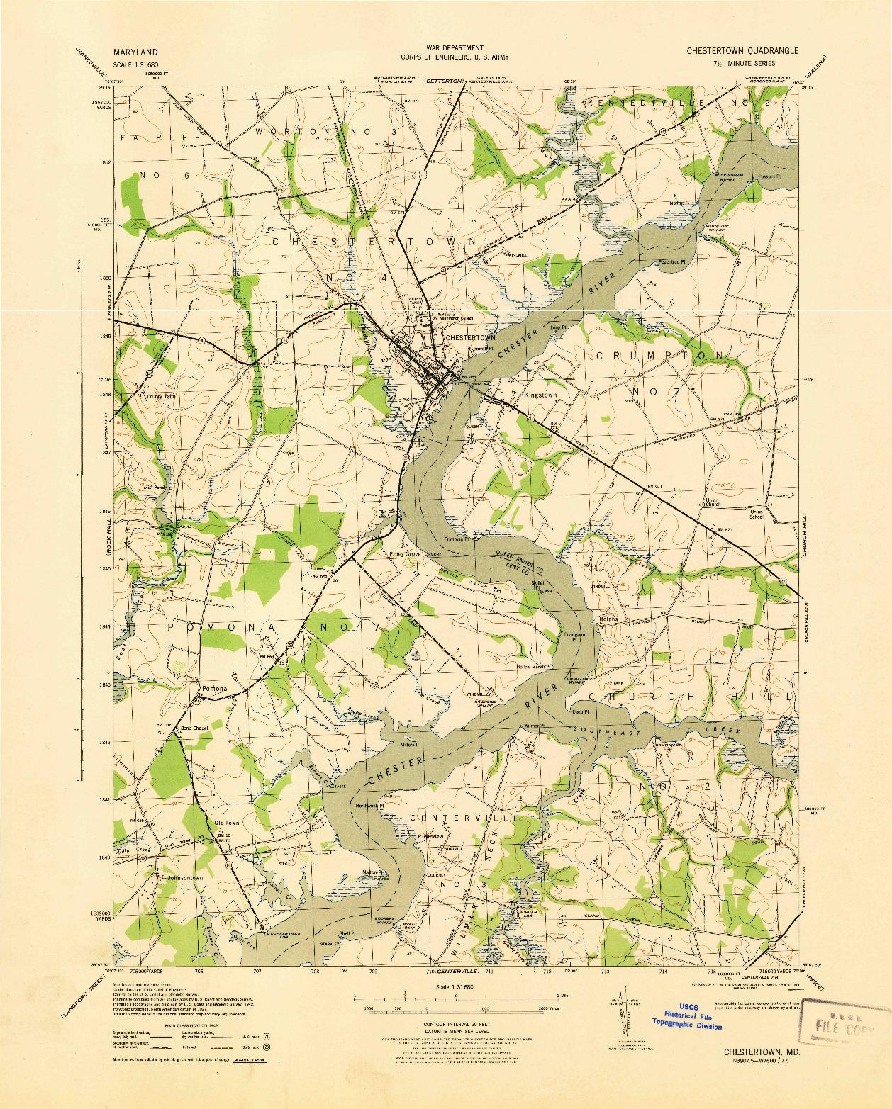 USGS 1:31680-SCALE QUADRANGLE FOR CHESTERTOWN, MD 1943