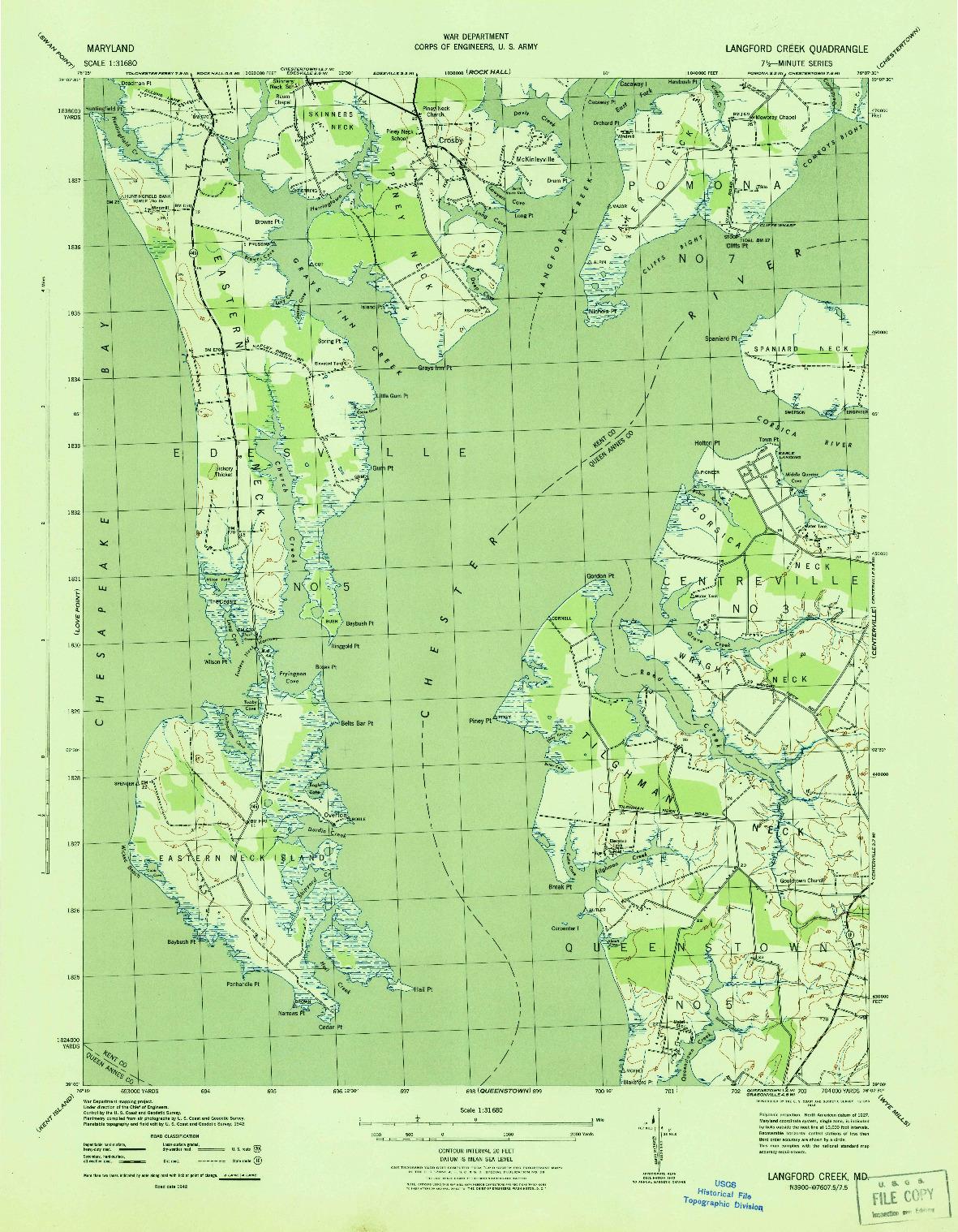 USGS 1:31680-SCALE QUADRANGLE FOR LANGFORD CREEK, MD 1943