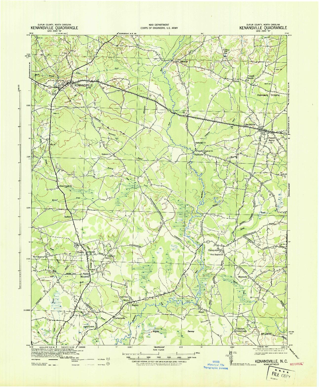 USGS 1:62500-SCALE QUADRANGLE FOR KENANSVILLE, NC 1943