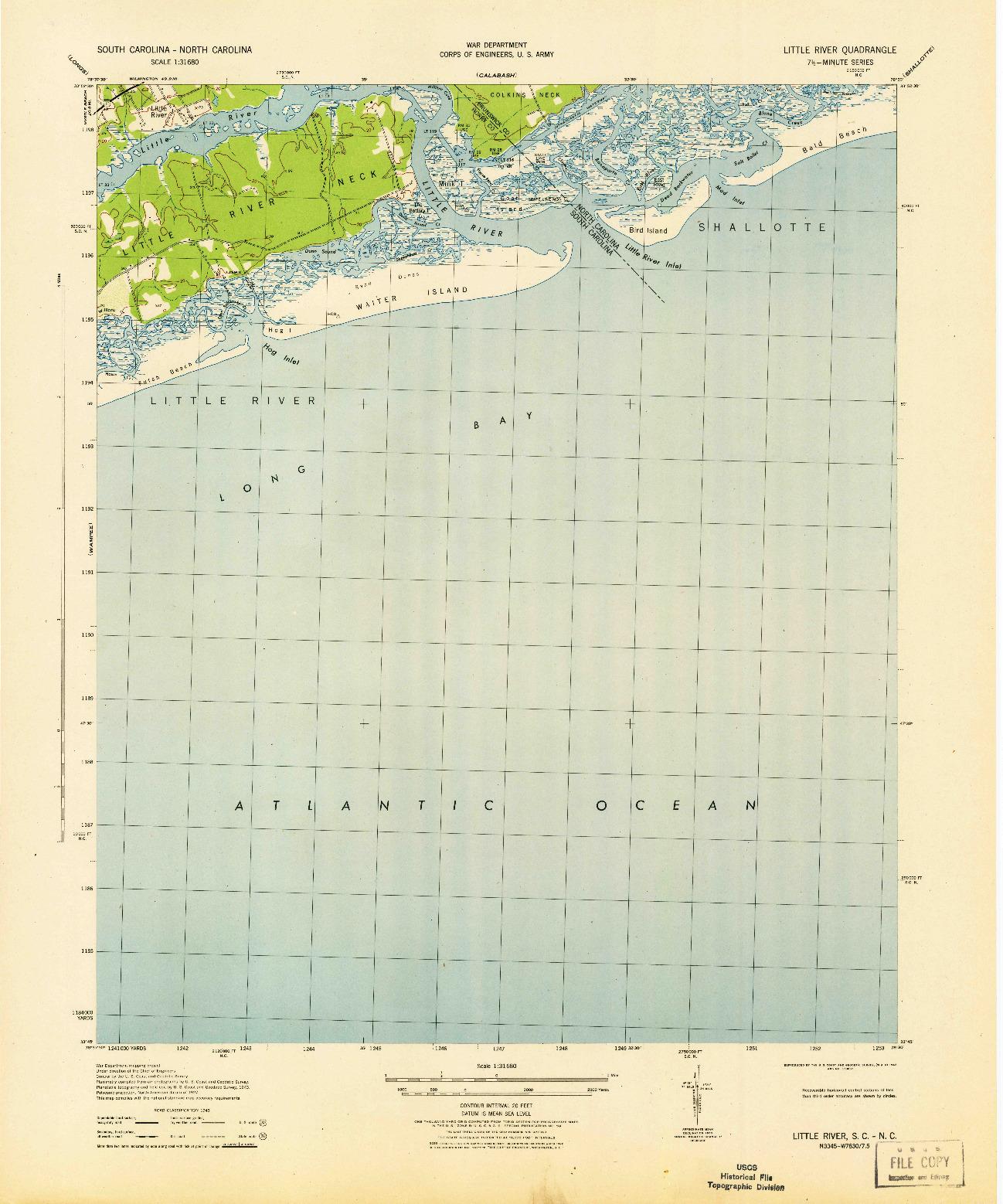 USGS 1:31680-SCALE QUADRANGLE FOR LITTLE RIVER, SC 1943