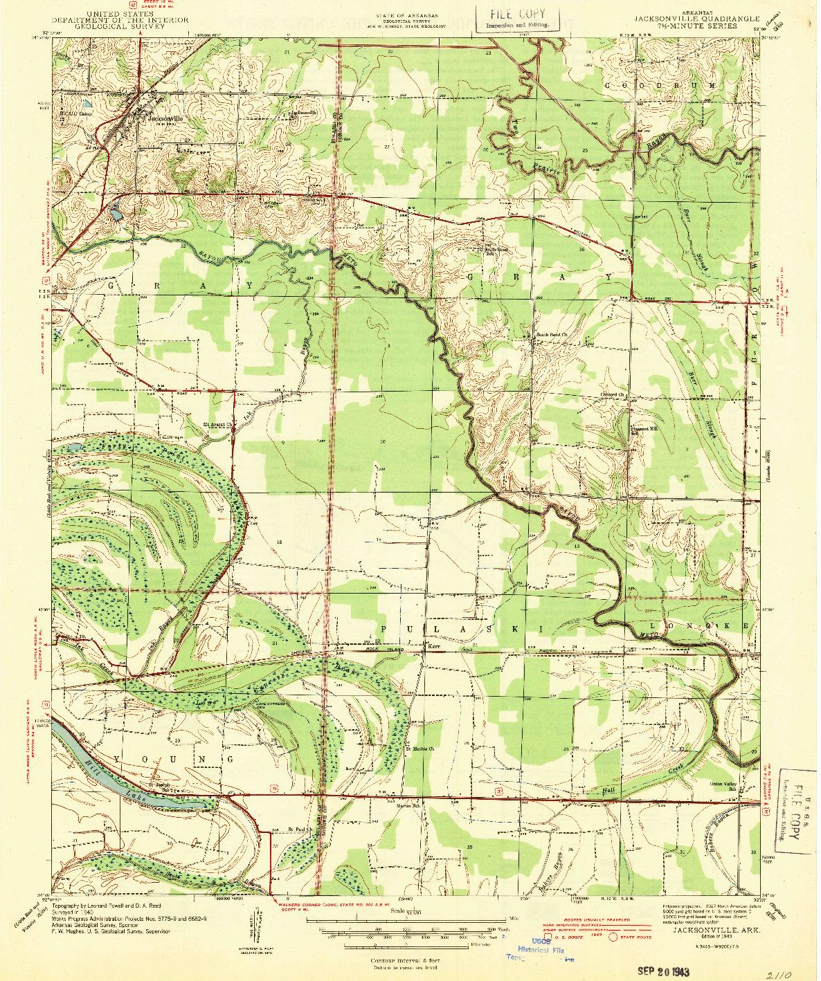 USGS 1:31680-SCALE QUADRANGLE FOR JACKSONVILLE, AR 1943
