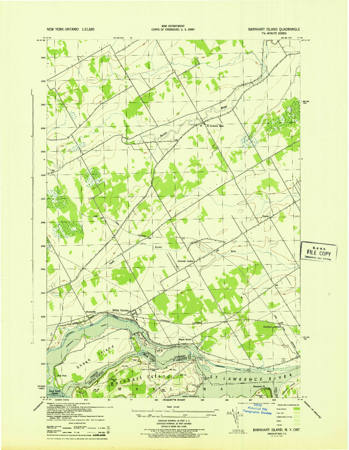 USGS 1:31680-SCALE QUADRANGLE FOR BARNHART ISLAND, NY 1943
