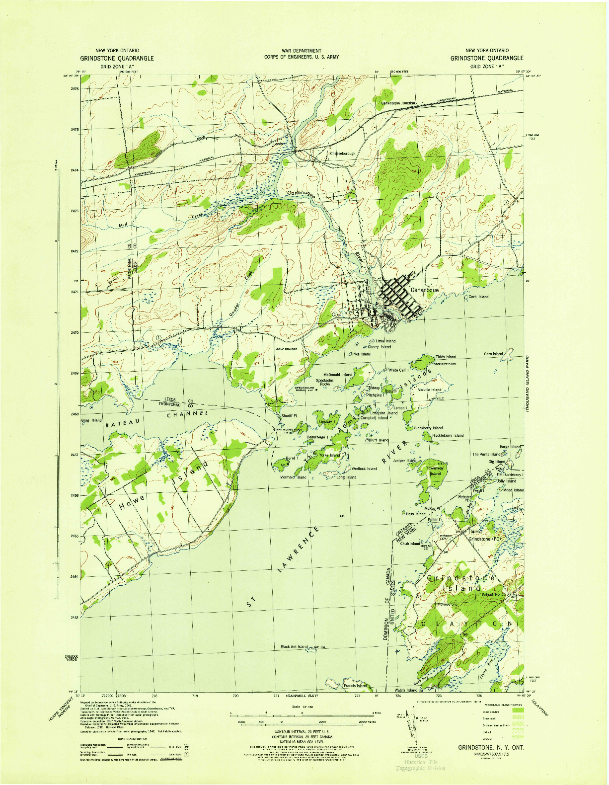 USGS 1:31680-SCALE QUADRANGLE FOR GRINDSTONE, NY 1943