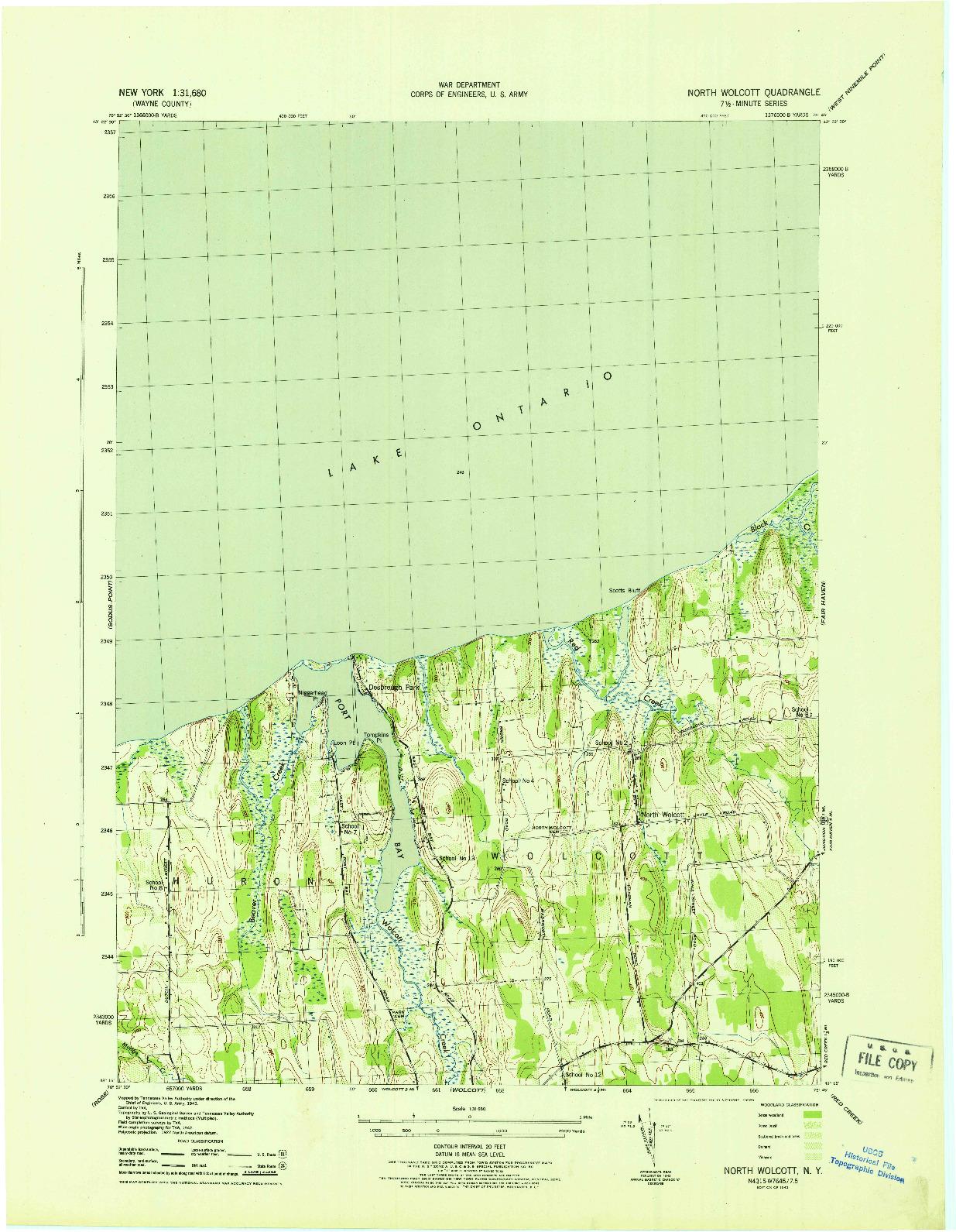USGS 1:31680-SCALE QUADRANGLE FOR NORTH WOLCOTT, NY 1943
