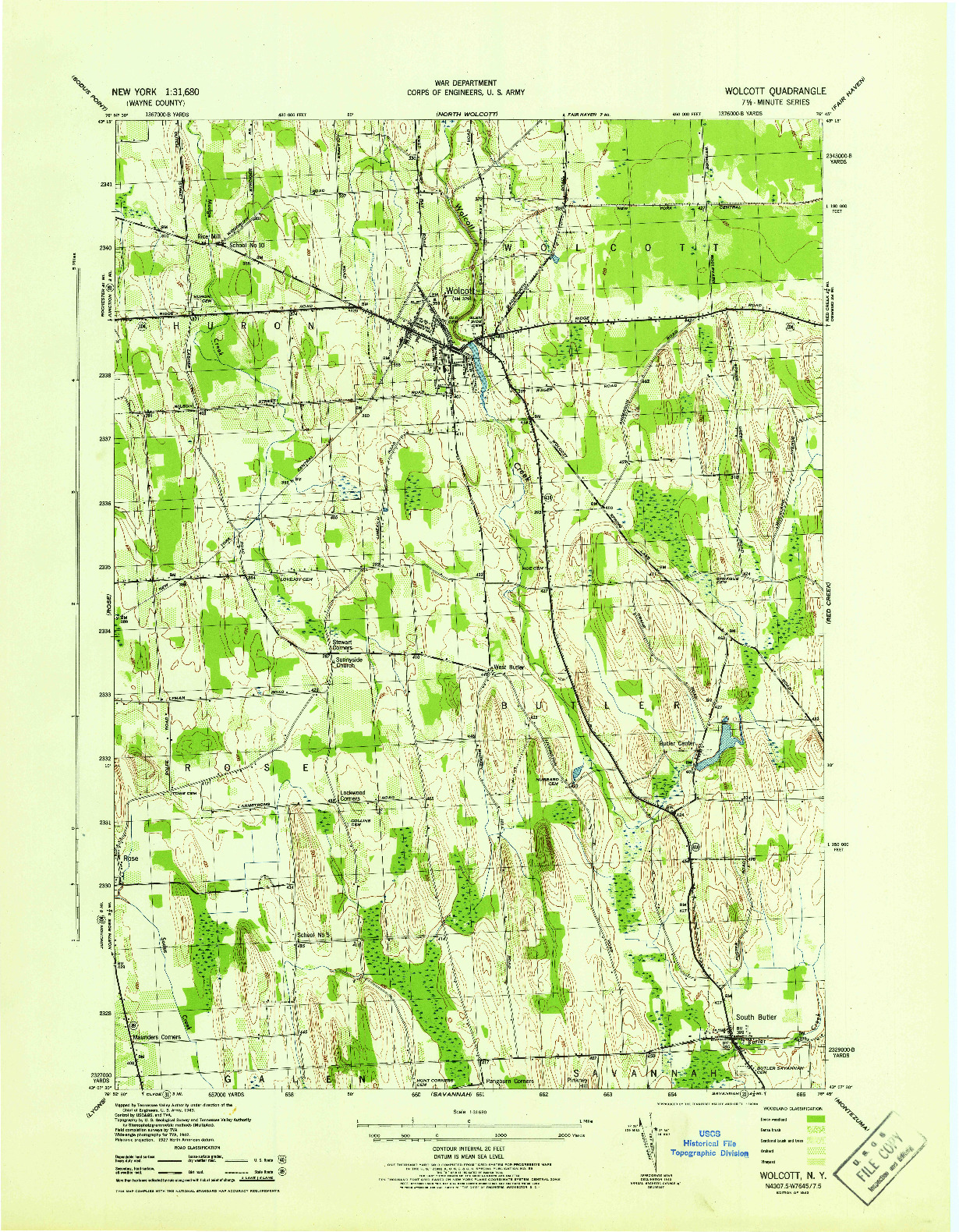 USGS 1:31680-SCALE QUADRANGLE FOR WOLCOTT, NY 1943
