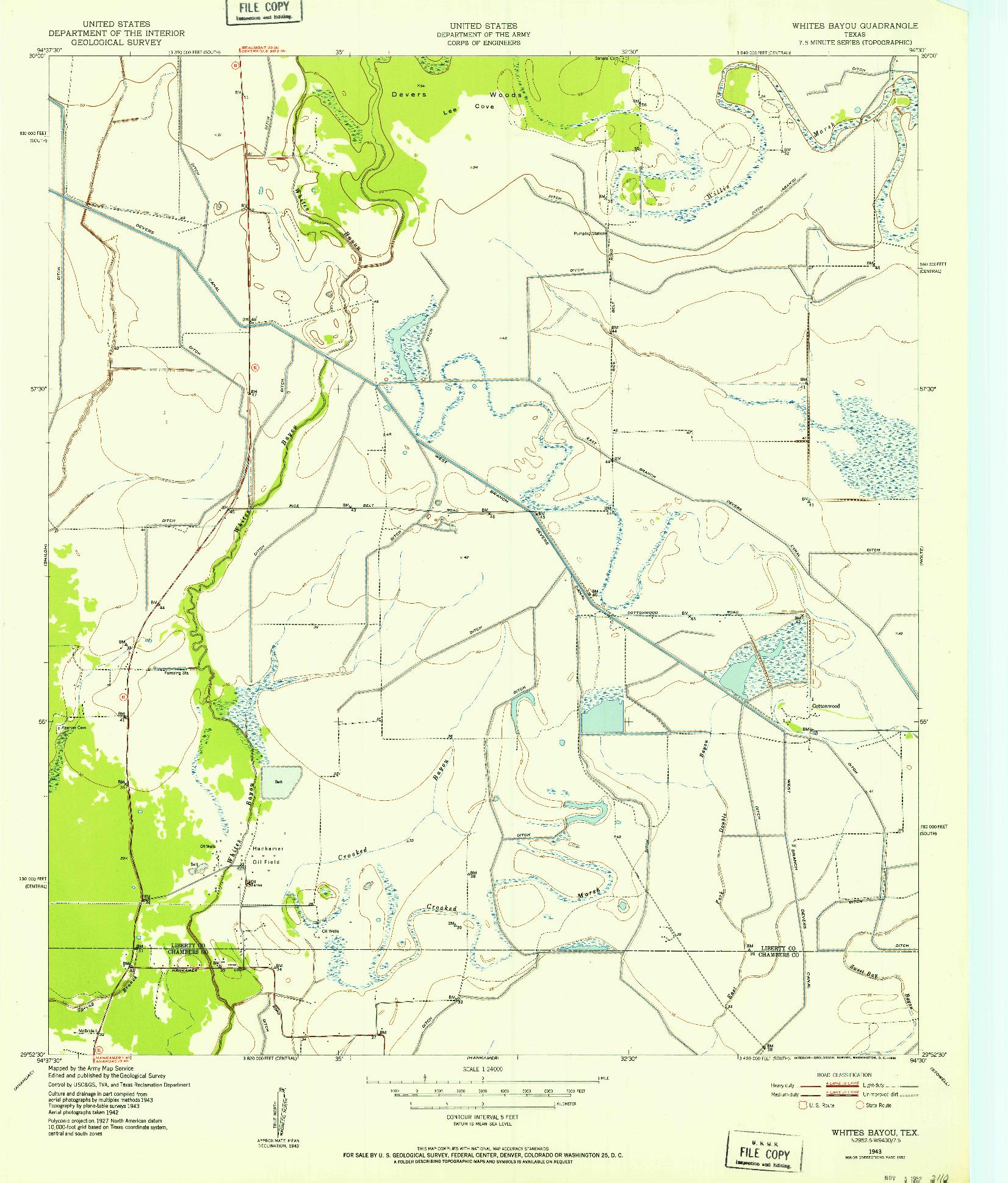 USGS 1:24000-SCALE QUADRANGLE FOR WHITES BAYOU, TX 1943