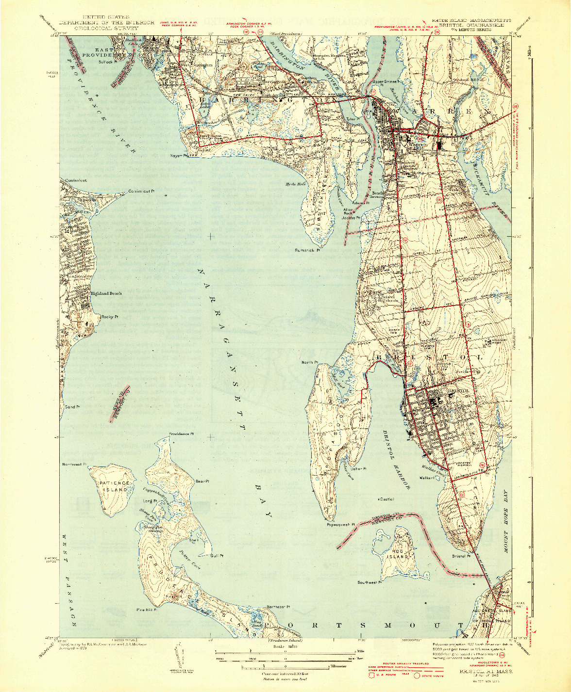 USGS 1:31680-SCALE QUADRANGLE FOR BRISTOL, RI 1943