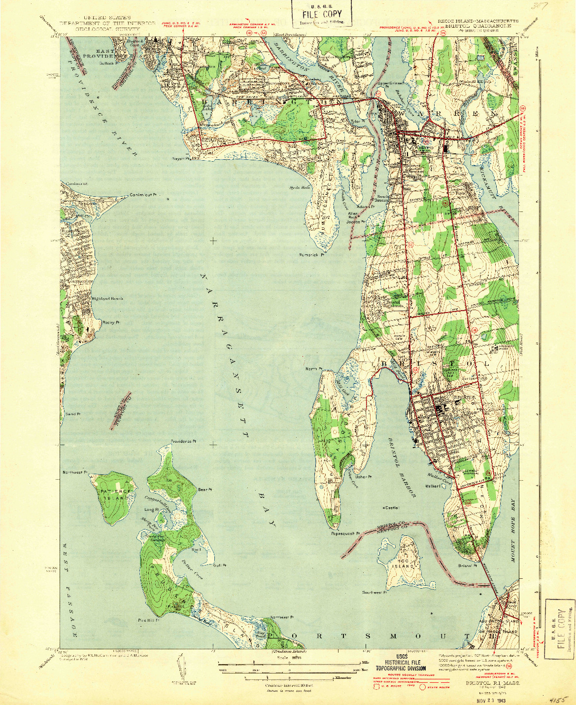 USGS 1:31680-SCALE QUADRANGLE FOR BRISTOL, RI 1943