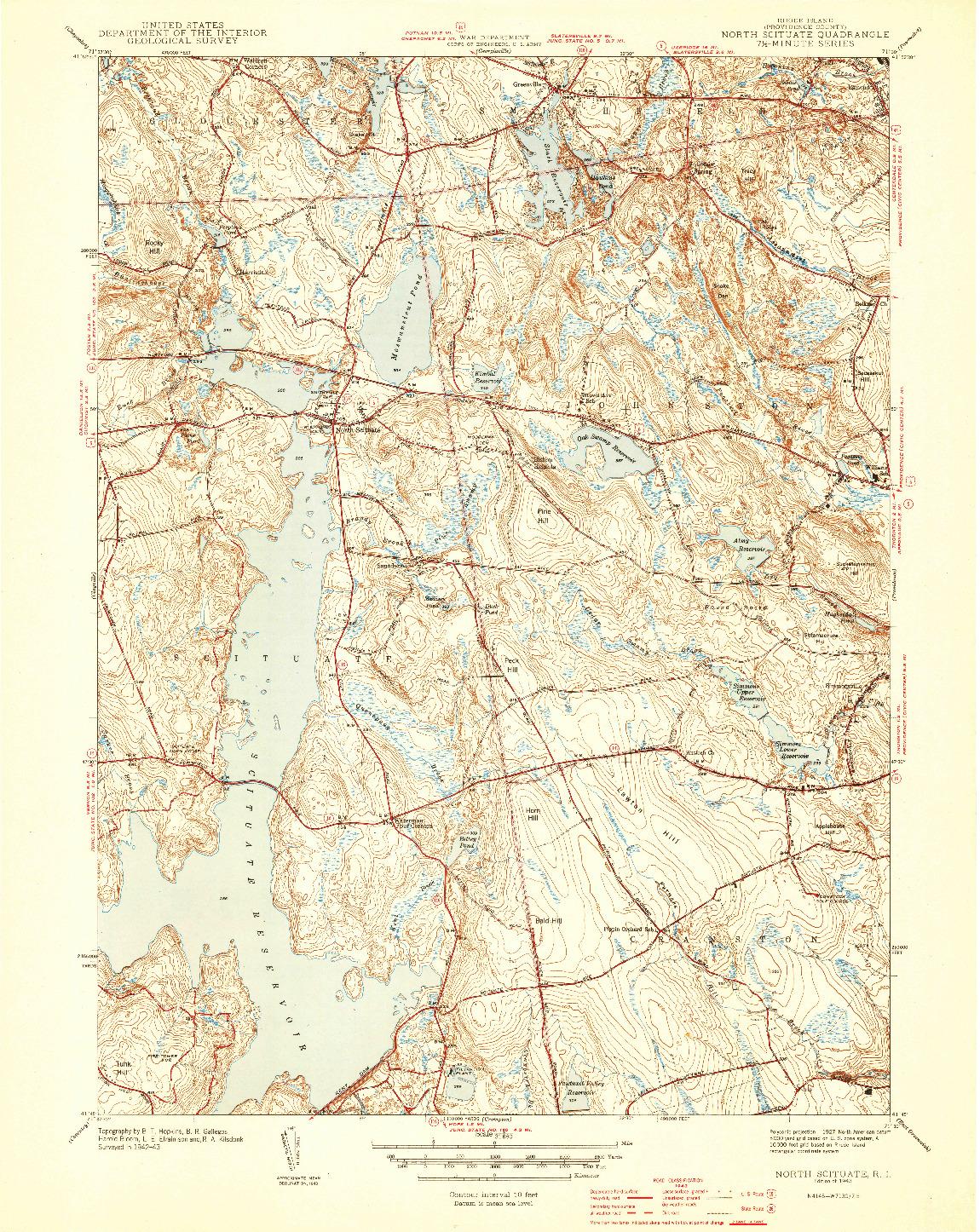 USGS 1:31680-SCALE QUADRANGLE FOR NORTH SCITUATE, RI 1943