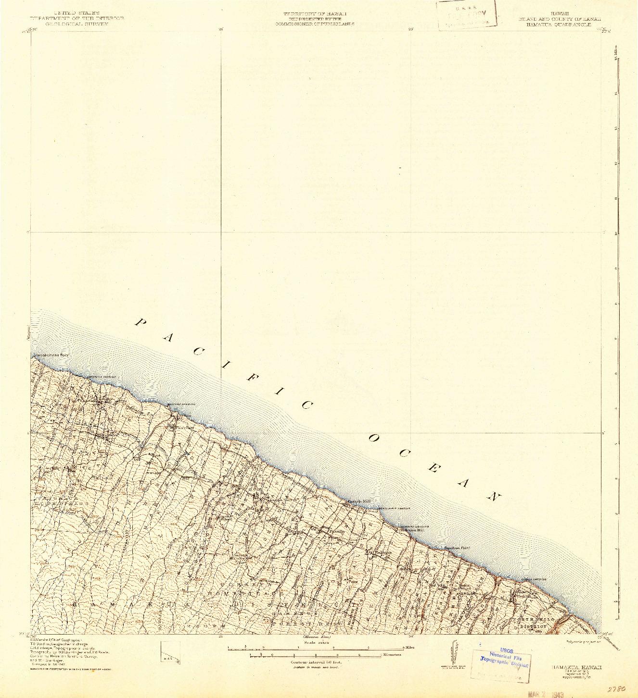 USGS 1:62500-SCALE QUADRANGLE FOR HAMAKUA, HI 1915