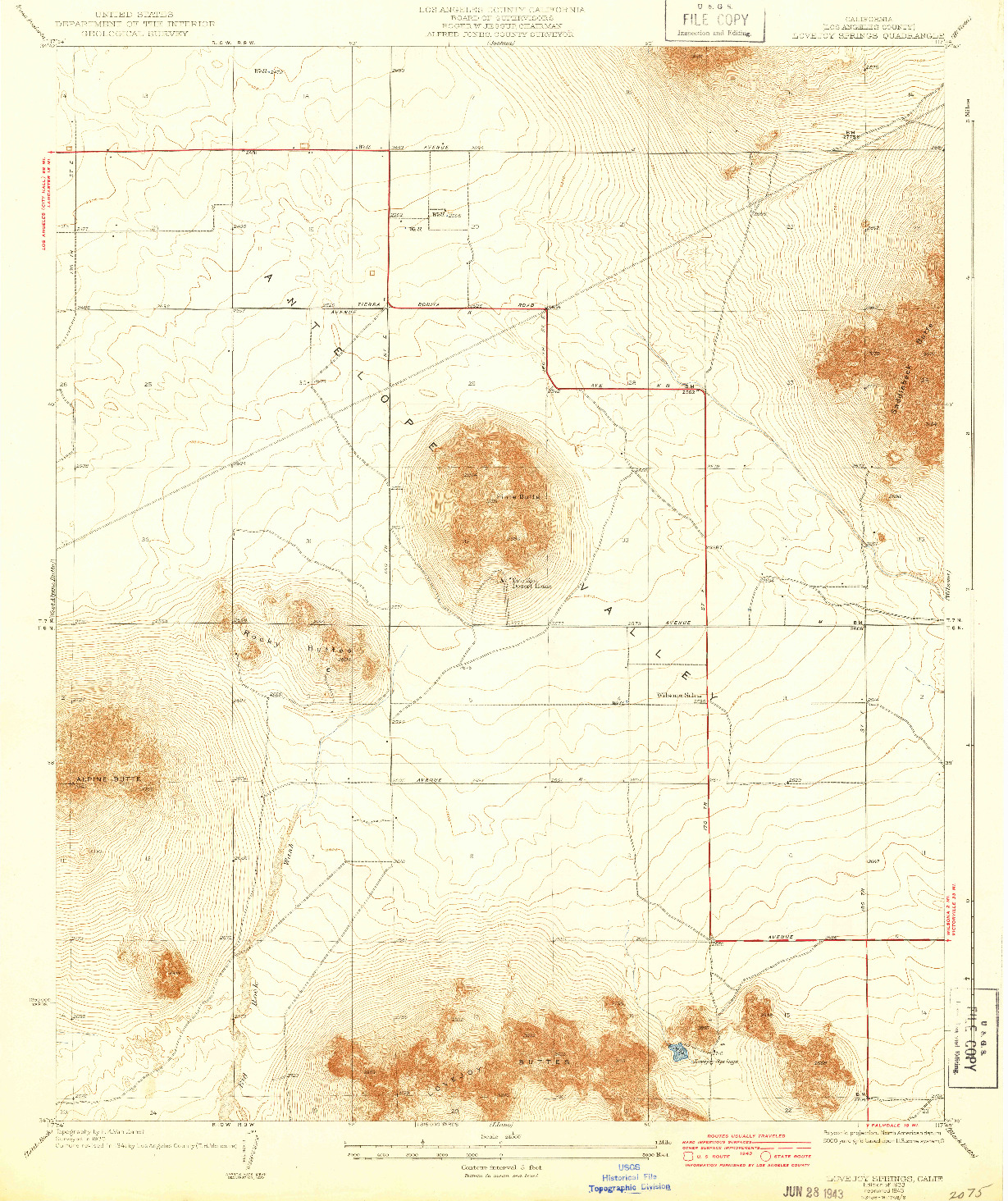 USGS 1:24000-SCALE QUADRANGLE FOR LOVEJOY SPRINGS, CA 1933