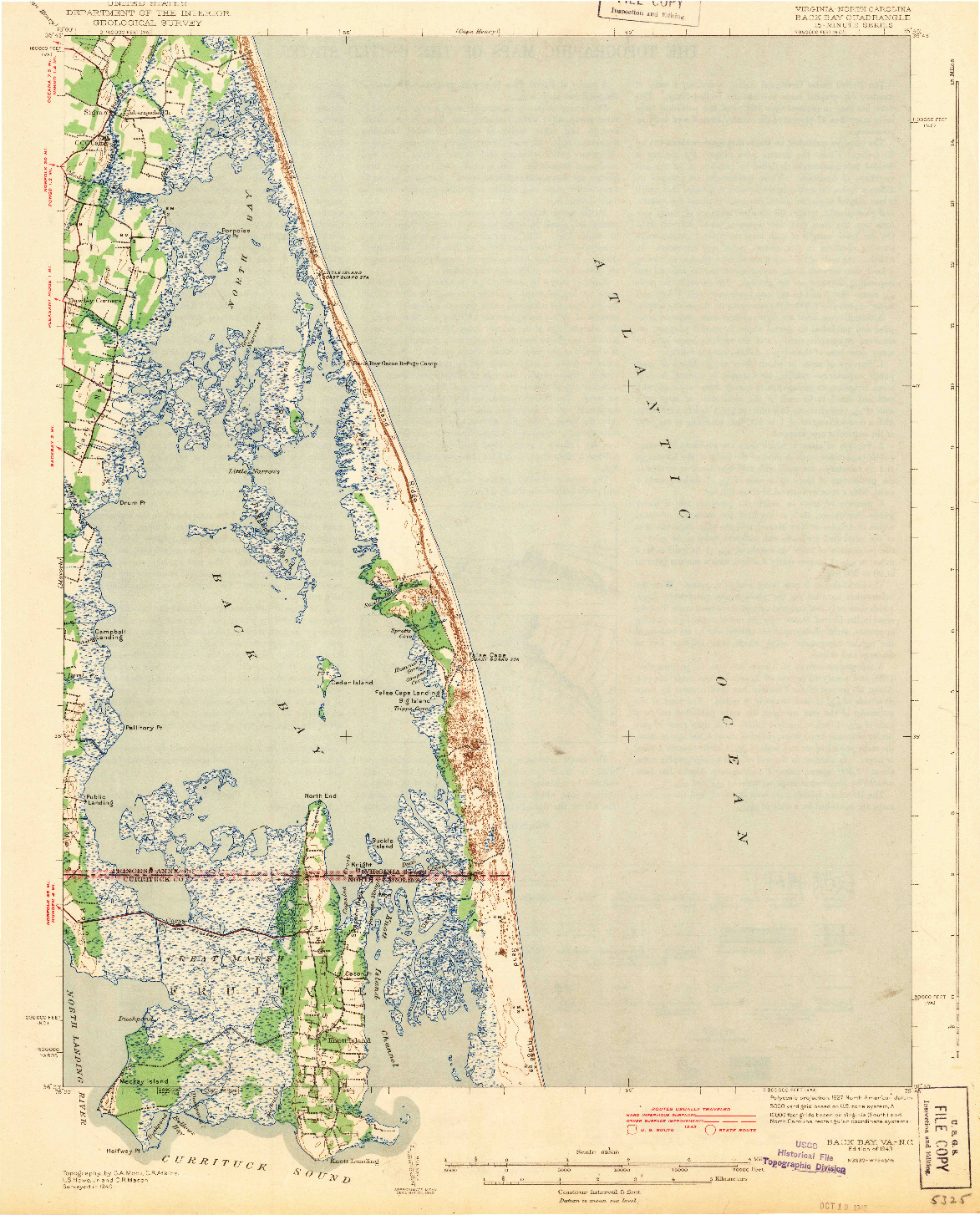 USGS 1:62500-SCALE QUADRANGLE FOR BACK BAY, VA 1943