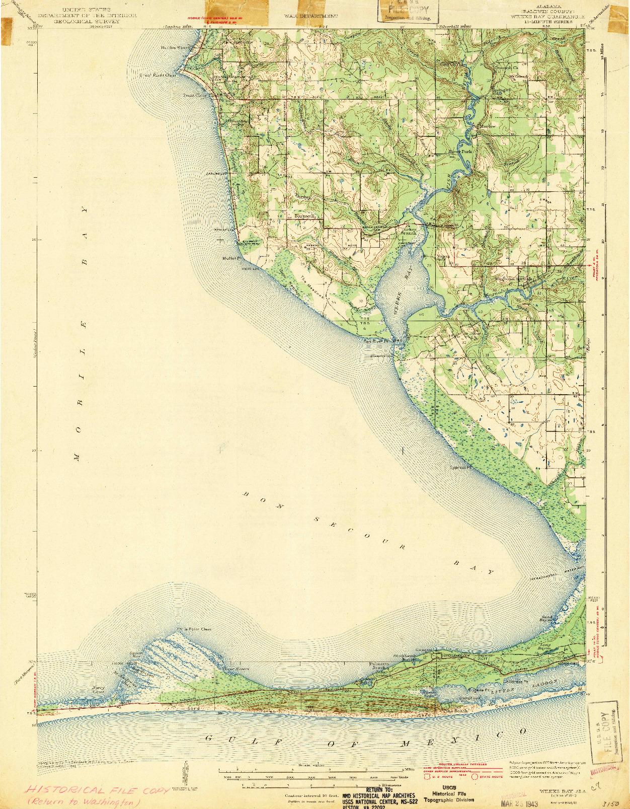 USGS 1:62500-SCALE QUADRANGLE FOR WEEKS BAY, AL 1943