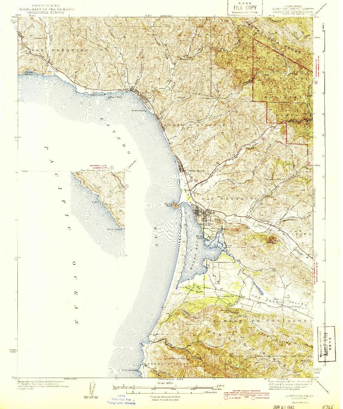 USGS 1:62500-SCALE QUADRANGLE FOR CAYUCOS, CA 1943