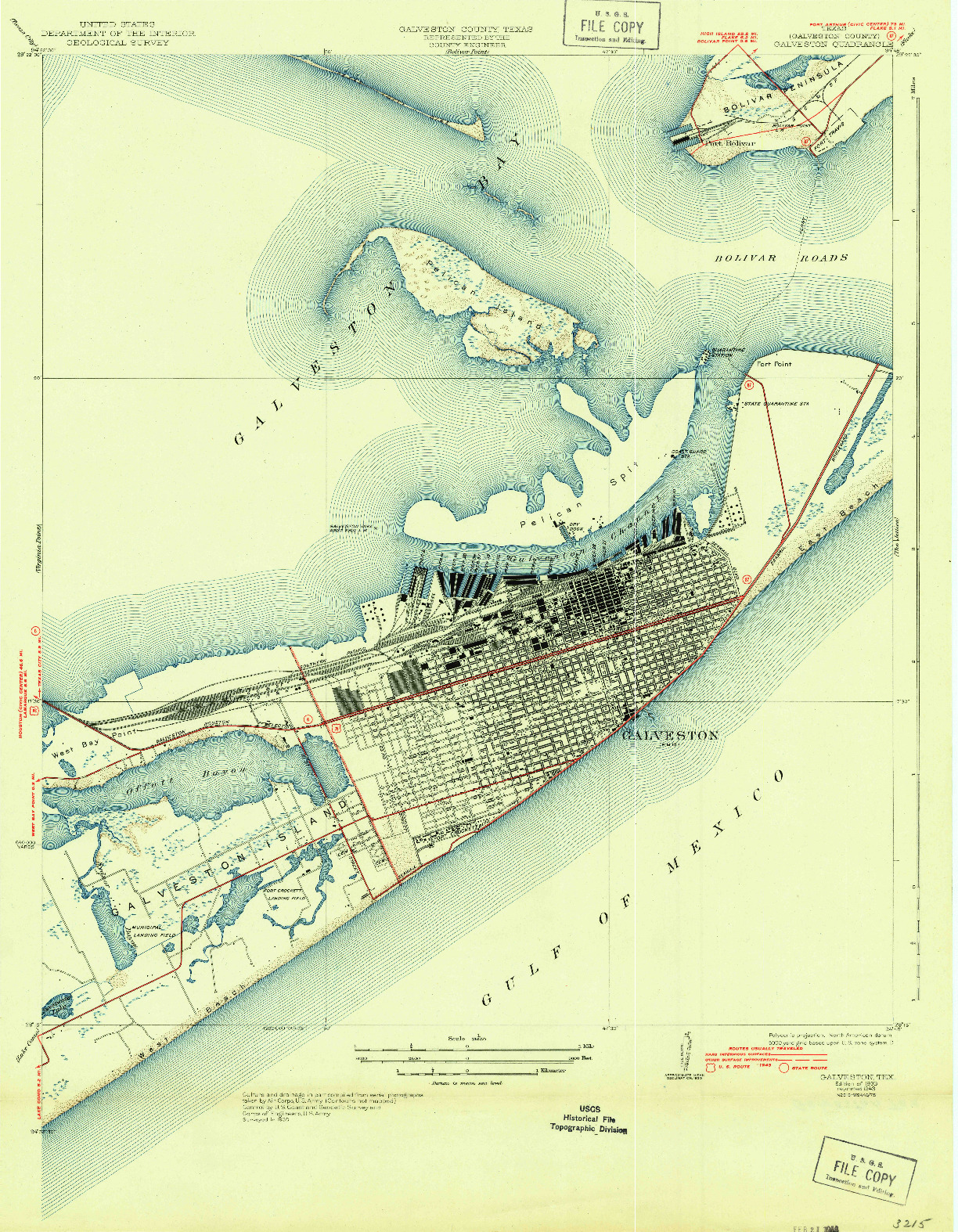 USGS 1:31680-SCALE QUADRANGLE FOR GALVESTON, TX 1933