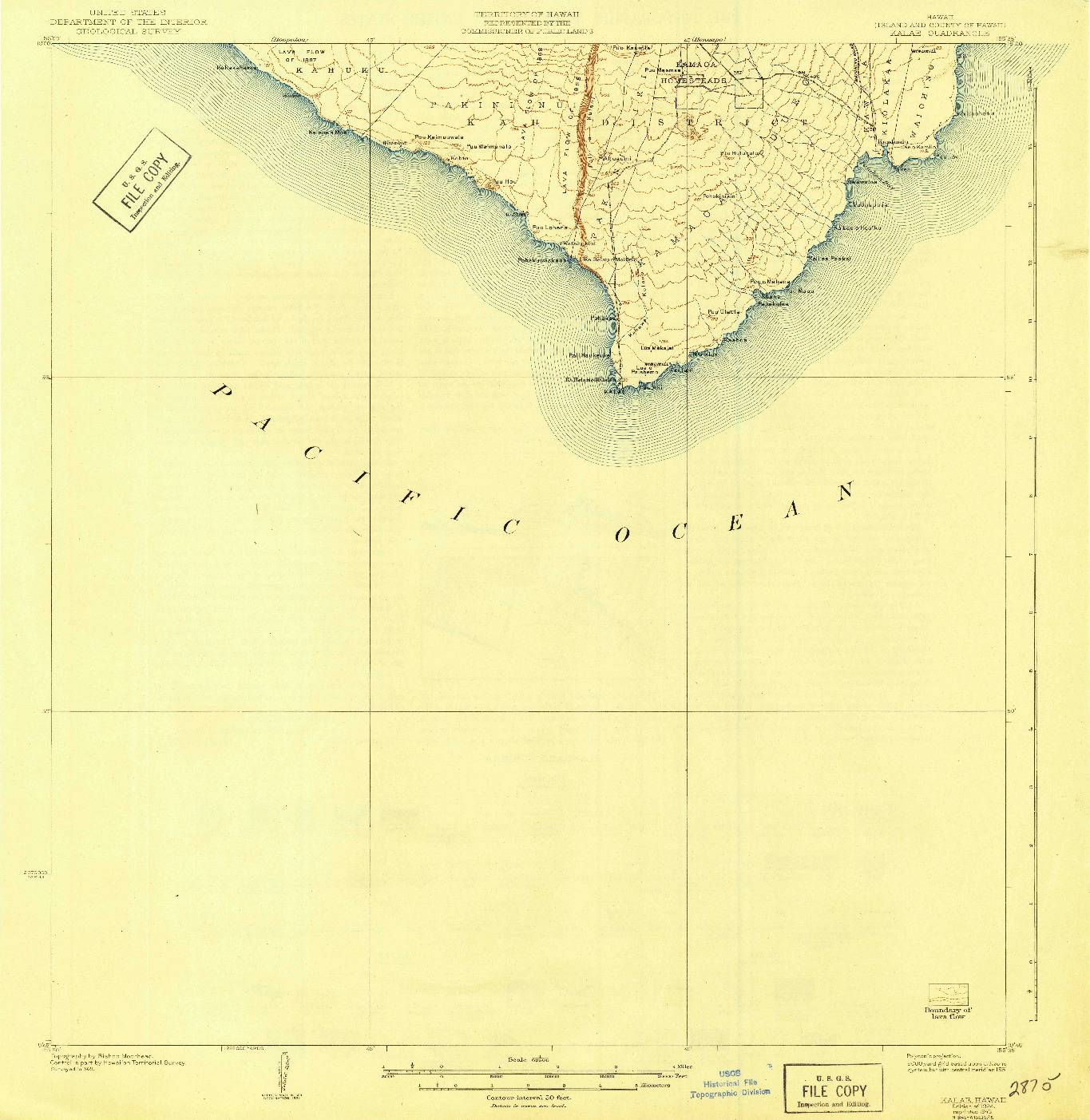 USGS 1:62500-SCALE QUADRANGLE FOR KALAE, HI 1924