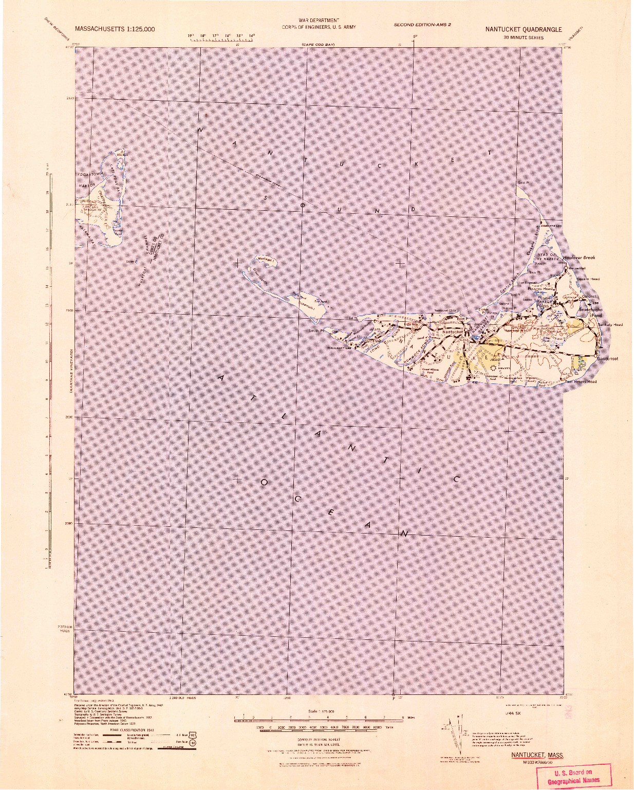 USGS 1:125000-SCALE QUADRANGLE FOR NANTUCKET, MA 1942