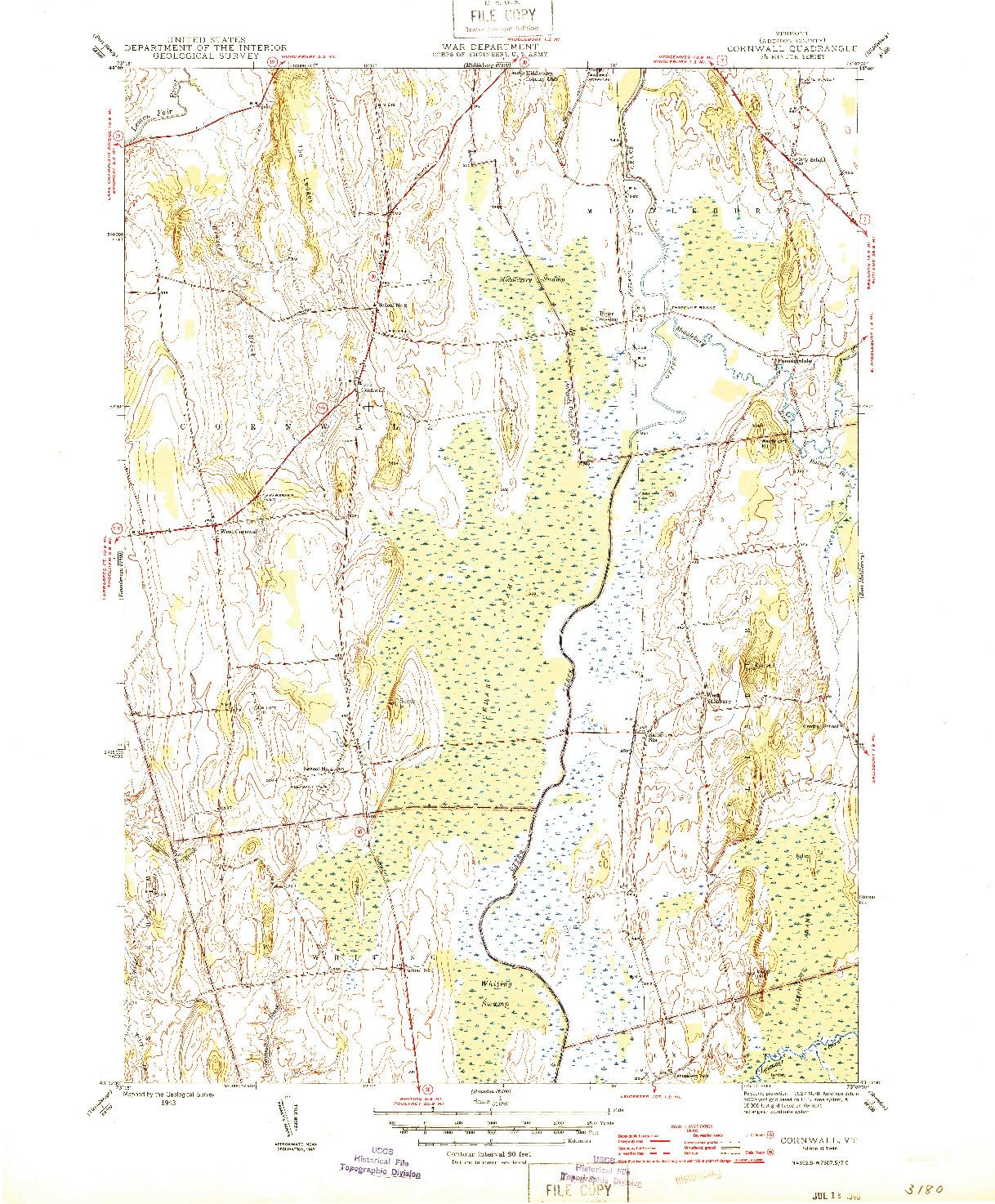 USGS 1:31680-SCALE QUADRANGLE FOR CORNWALL, VT 1943