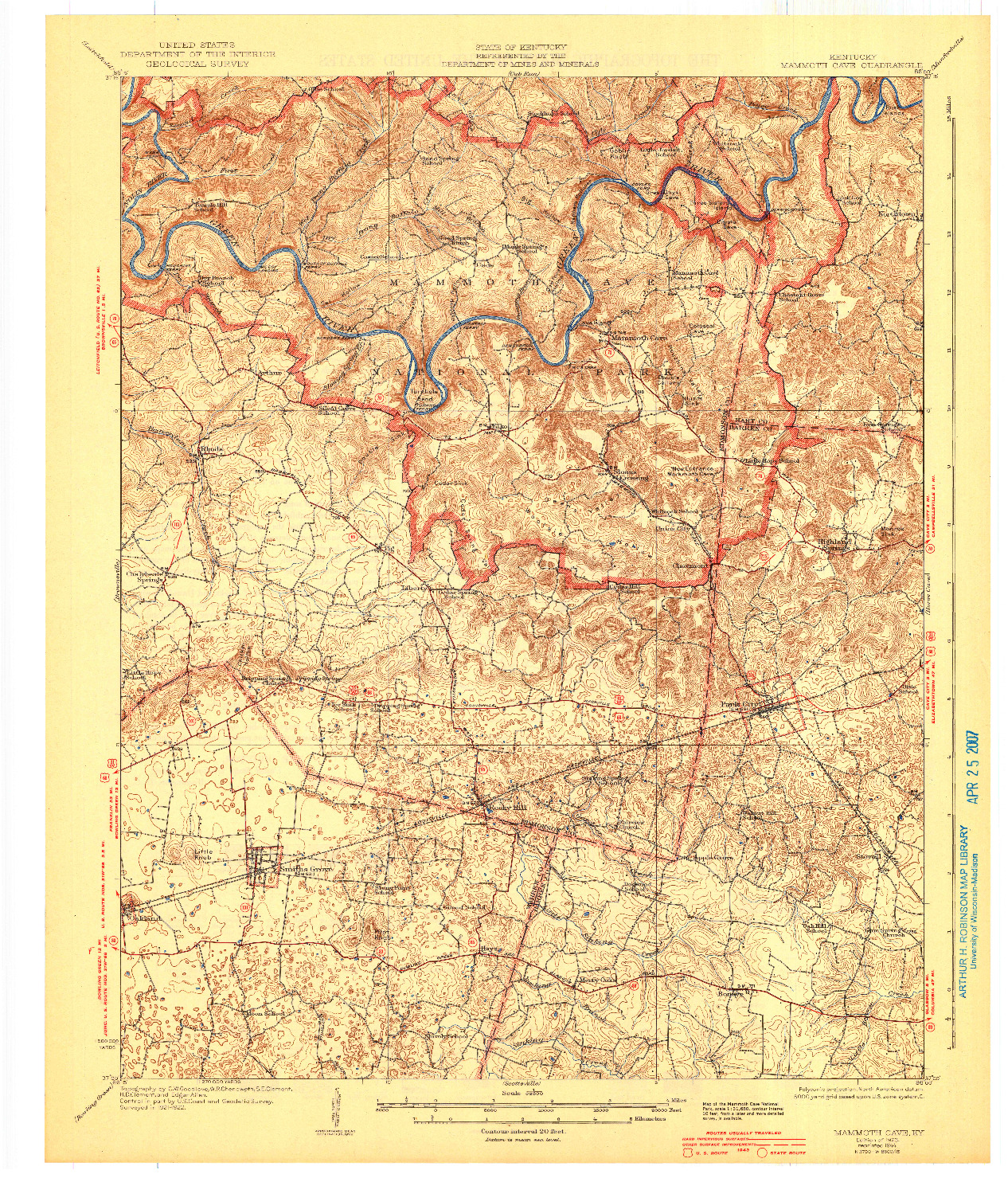USGS 1:62500-SCALE QUADRANGLE FOR MAMMOTH CAVE, KY 1923