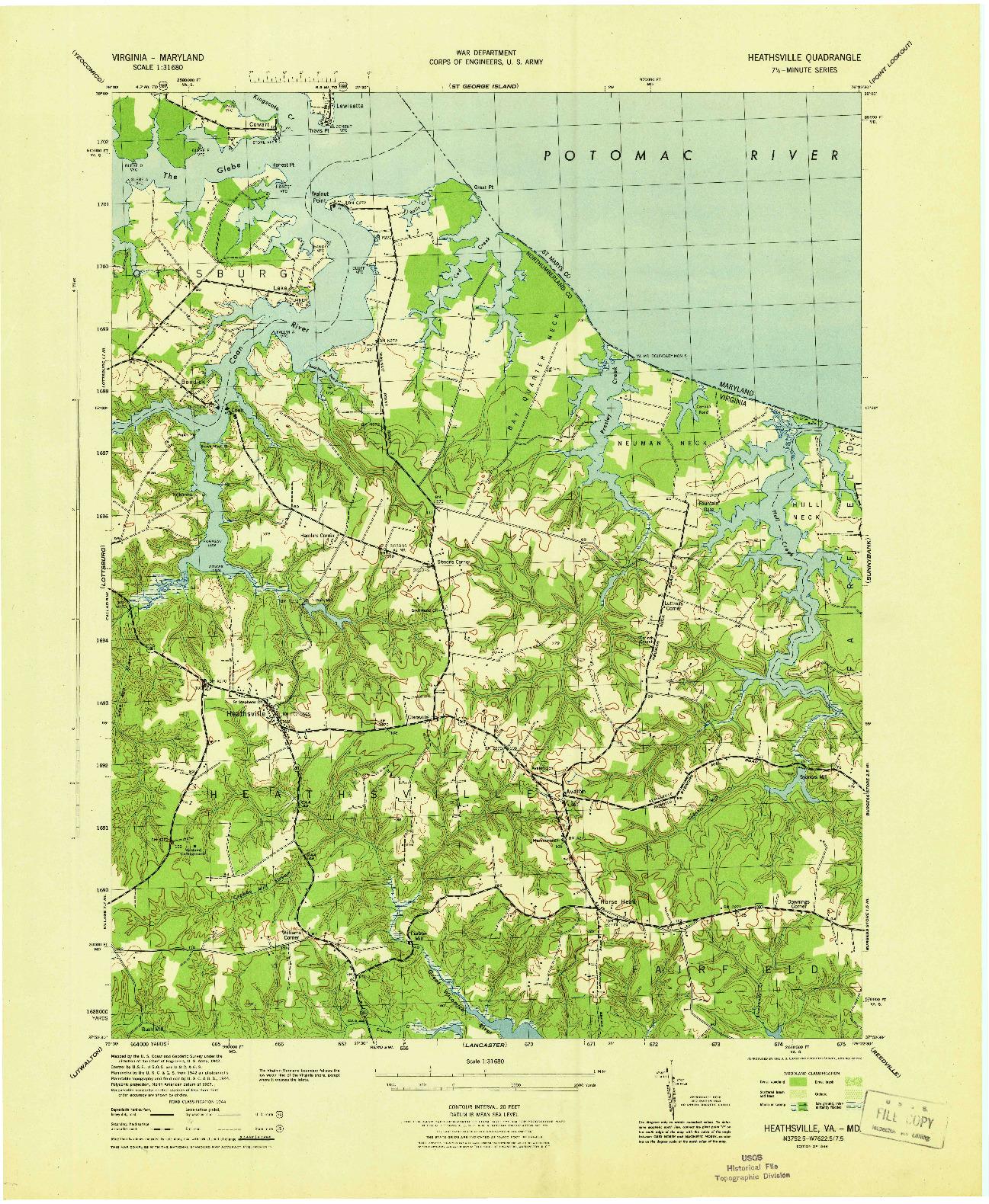USGS 1:31680-SCALE QUADRANGLE FOR HEATHSVILLE, VA 1944