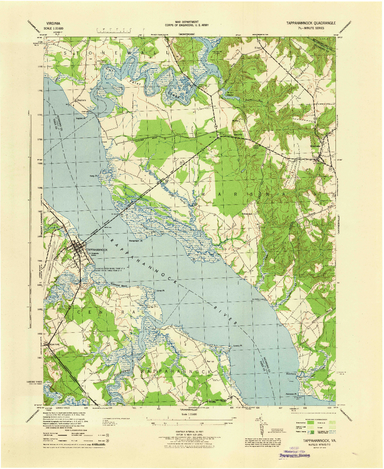 USGS 1:31680-SCALE QUADRANGLE FOR TAPPAHANNOCK, VA 1944
