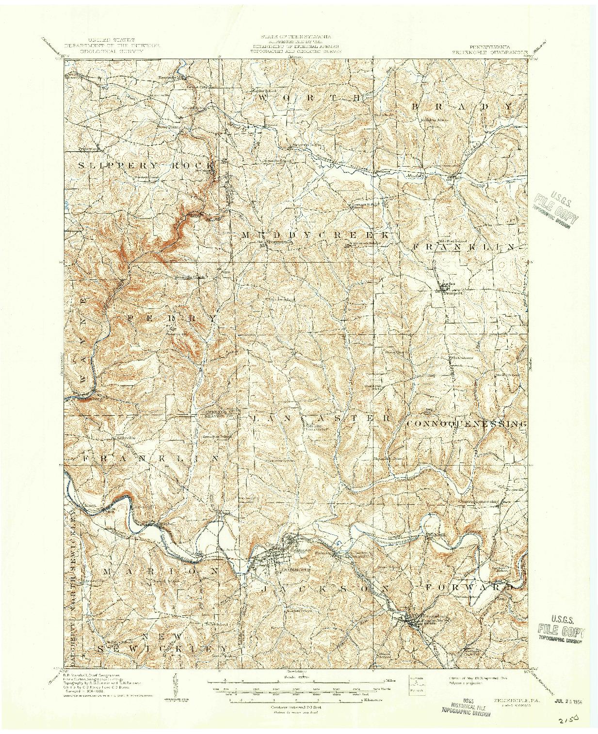 USGS 1:62500-SCALE QUADRANGLE FOR ZELIENOPLE, PA 1910