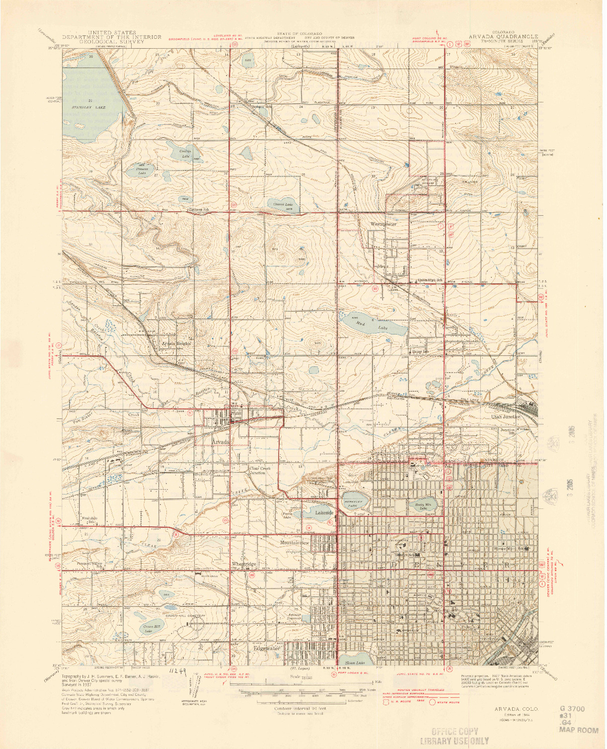 USGS 1:31680-SCALE QUADRANGLE FOR ARVADA, CO 1944