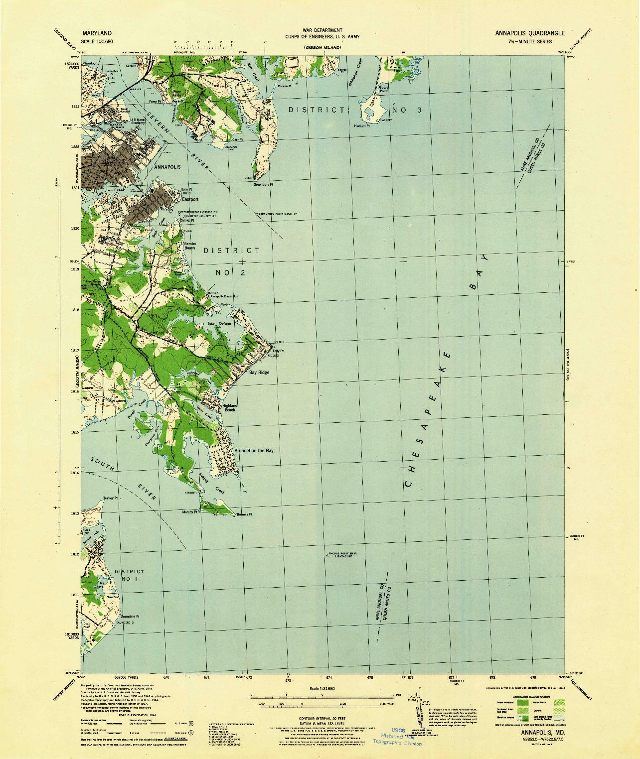 USGS 1:31680-SCALE QUADRANGLE FOR ANNAPOLIS, MD 1944