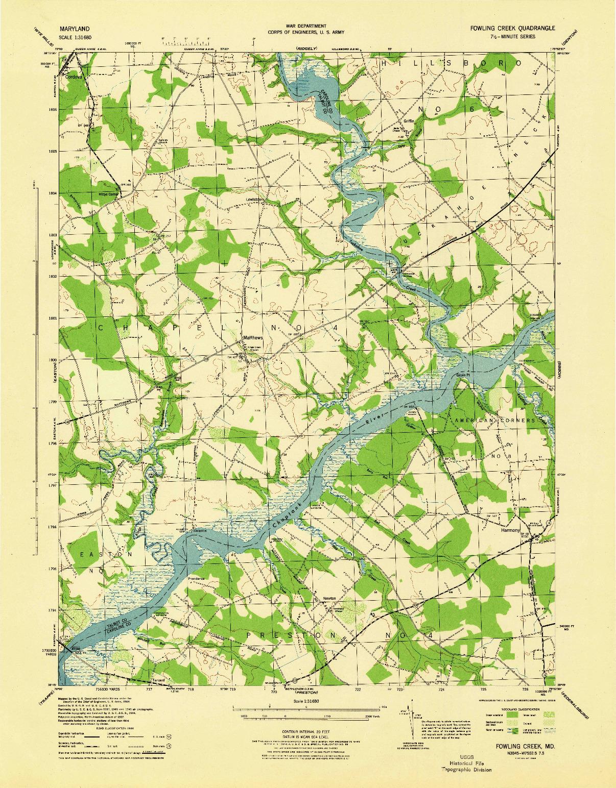 USGS 1:31680-SCALE QUADRANGLE FOR FOWLING CREEK, MD 1944