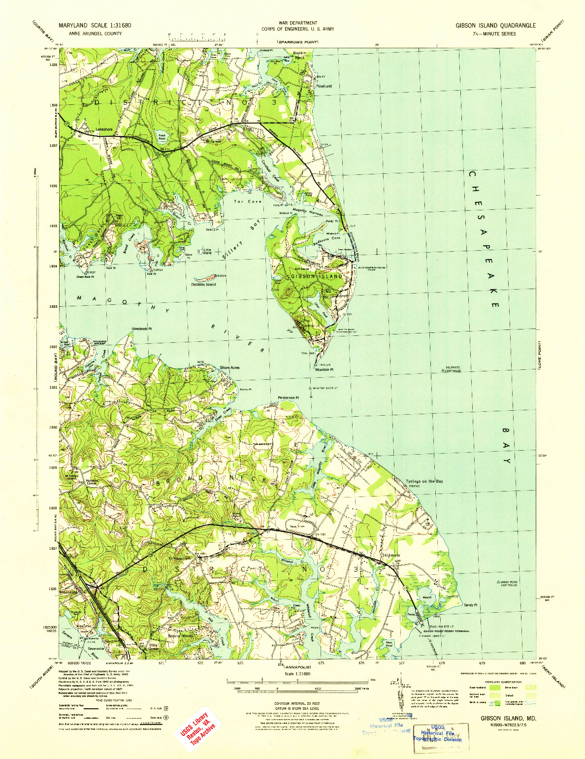 USGS 1:31680-SCALE QUADRANGLE FOR GIBSON ISLAND, MD 1944