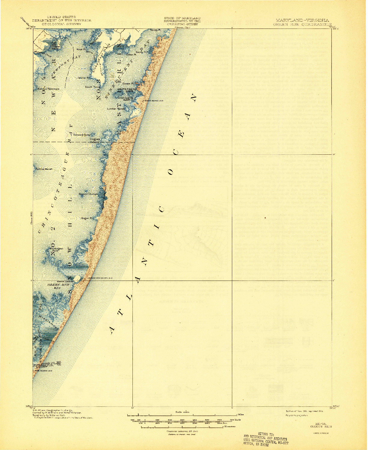 USGS 1:62500-SCALE QUADRANGLE FOR GREEN RUN, MD 1901