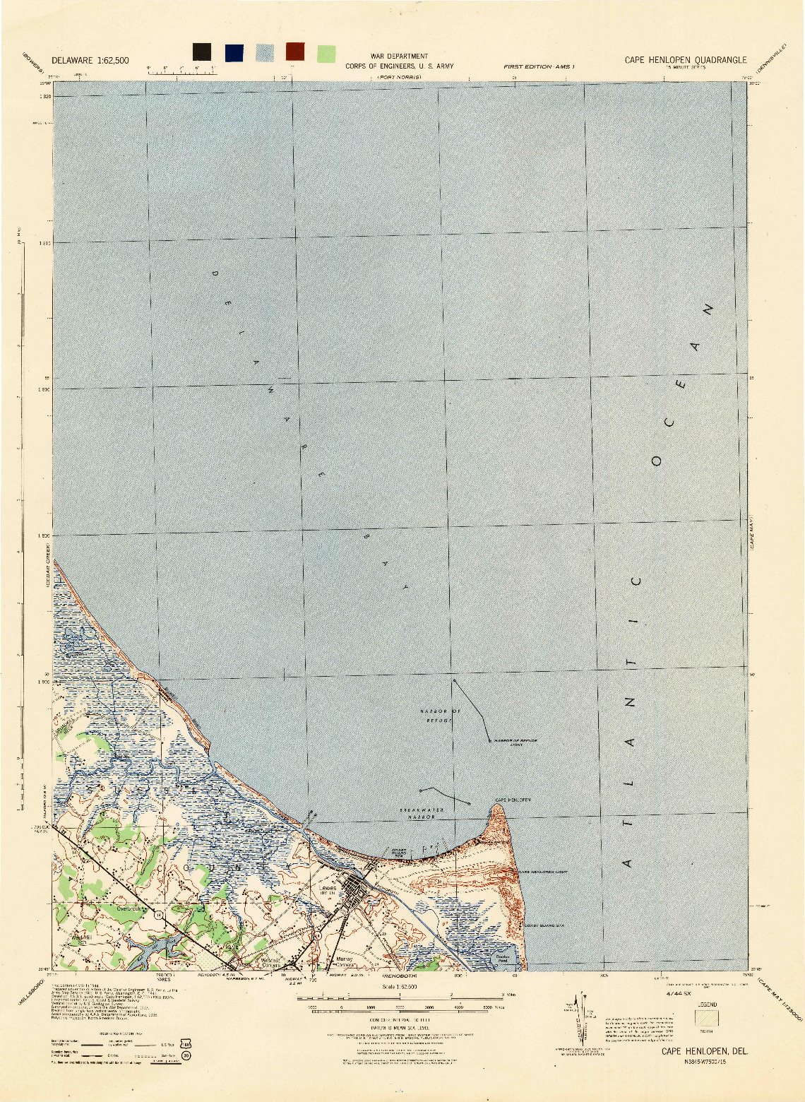 USGS 1:62500-SCALE QUADRANGLE FOR CAPE HENLOPEN, DE 1944