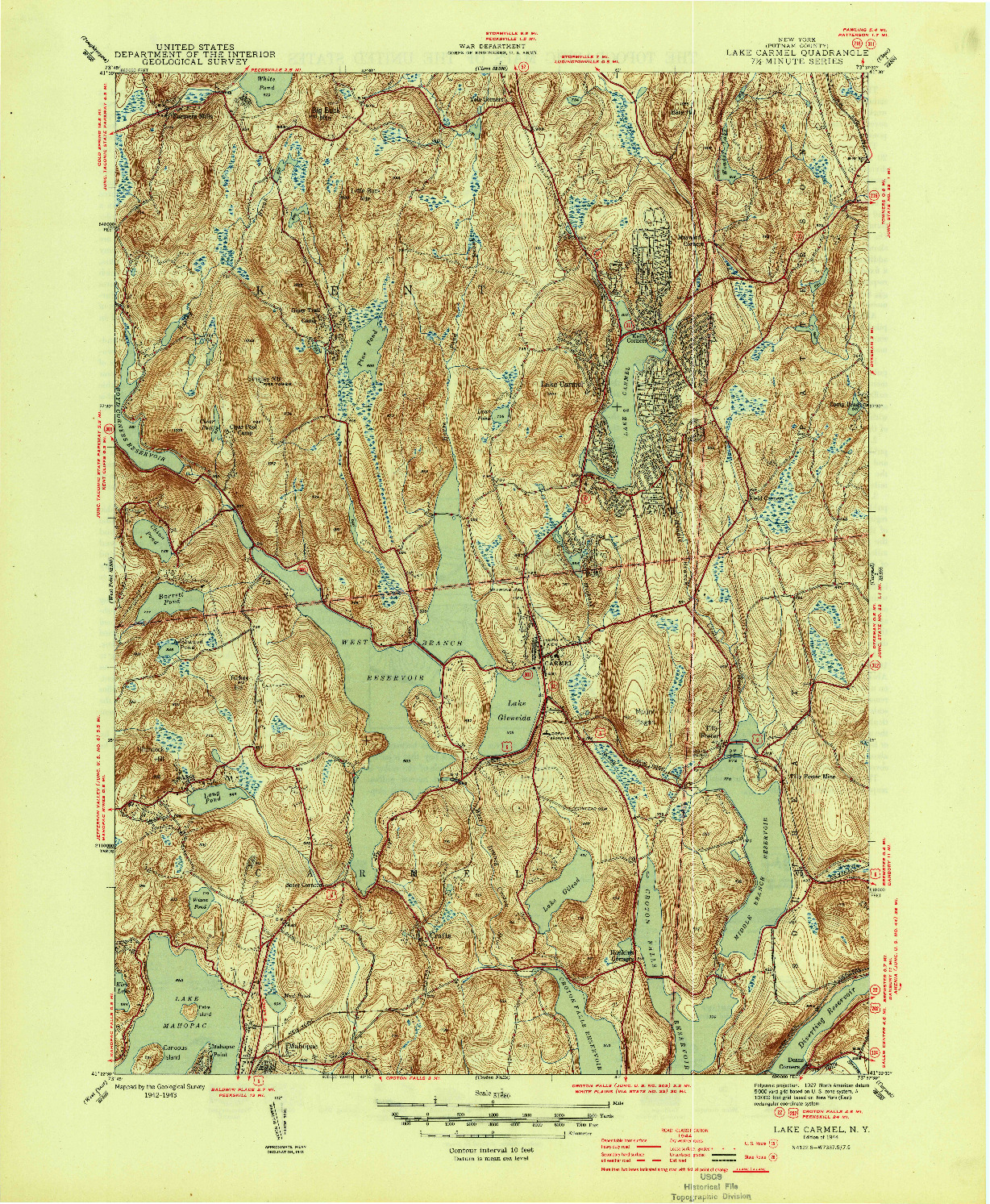 USGS 1:31680-SCALE QUADRANGLE FOR LAKE CARMEL, NY 1944