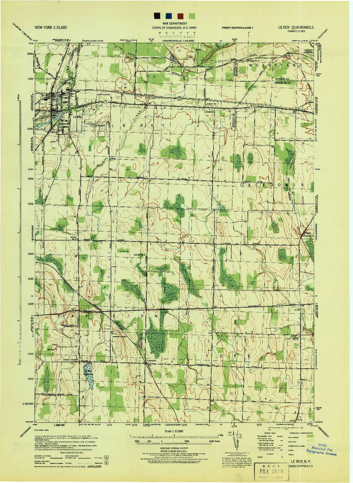 USGS 1:31680-SCALE QUADRANGLE FOR LE ROY, NY 1944