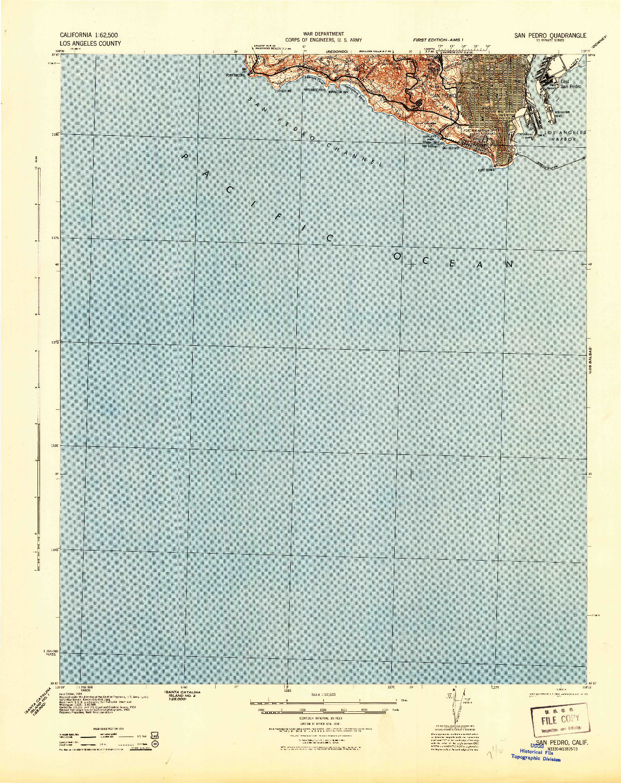 USGS 1:62500-SCALE QUADRANGLE FOR SAN PEDRO, CA 1944