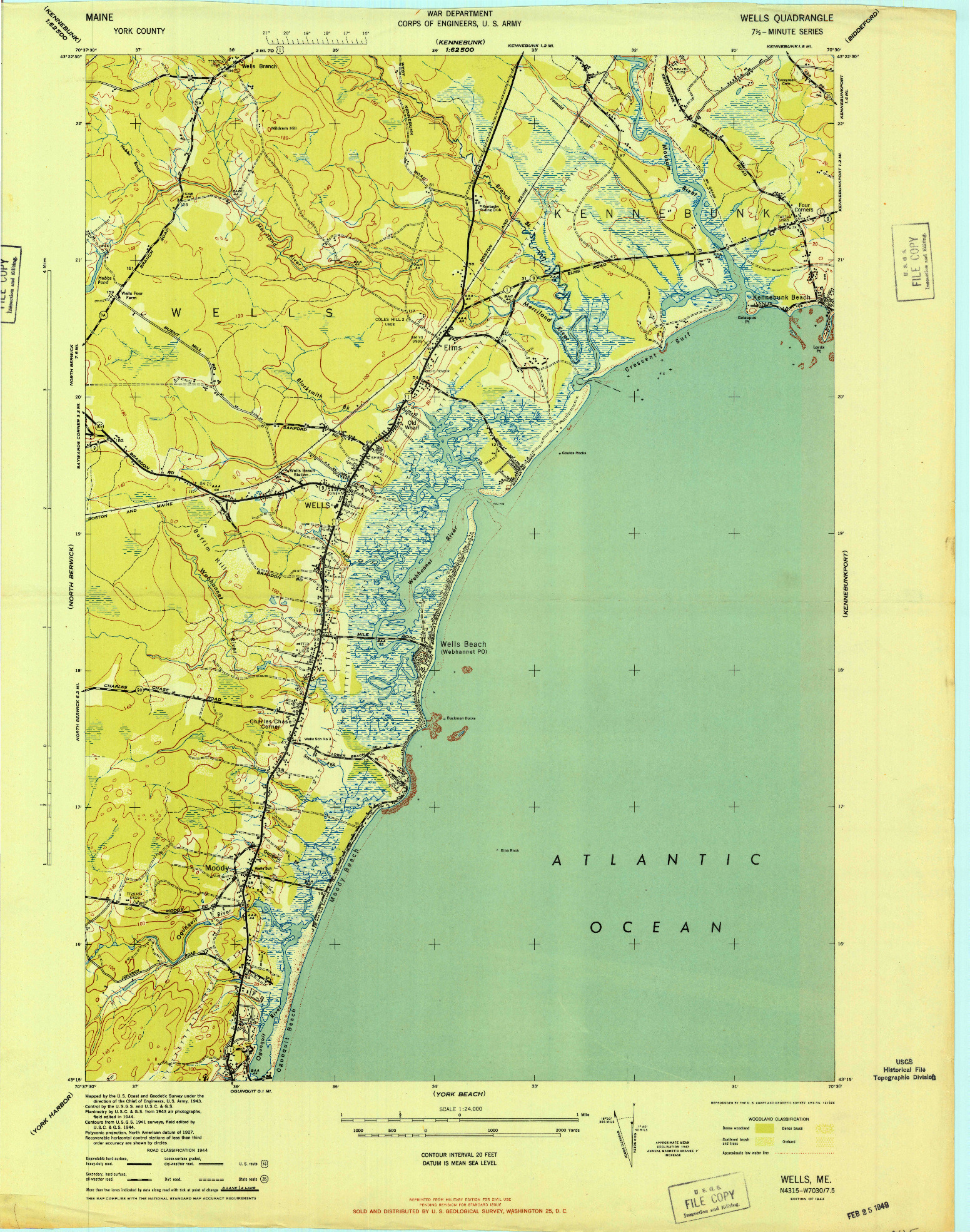 USGS 1:24000-SCALE QUADRANGLE FOR WELLS, ME 1944 on map of danville nh, map of south hampton nh, map of deerfield nh, map of new castle nh, map of newton ma, map of hudson nh, map of rochester nh, map of laconia nh, map of york maine area, map of york beach maine, map of southern maine coast, map of springfield ma, map of rollinsford nh, map of strafford nh, map of dover nh, map of new durham nh, map of gilford nh, map of stewartstown nh, map of epping nh, map of salisbury ma,