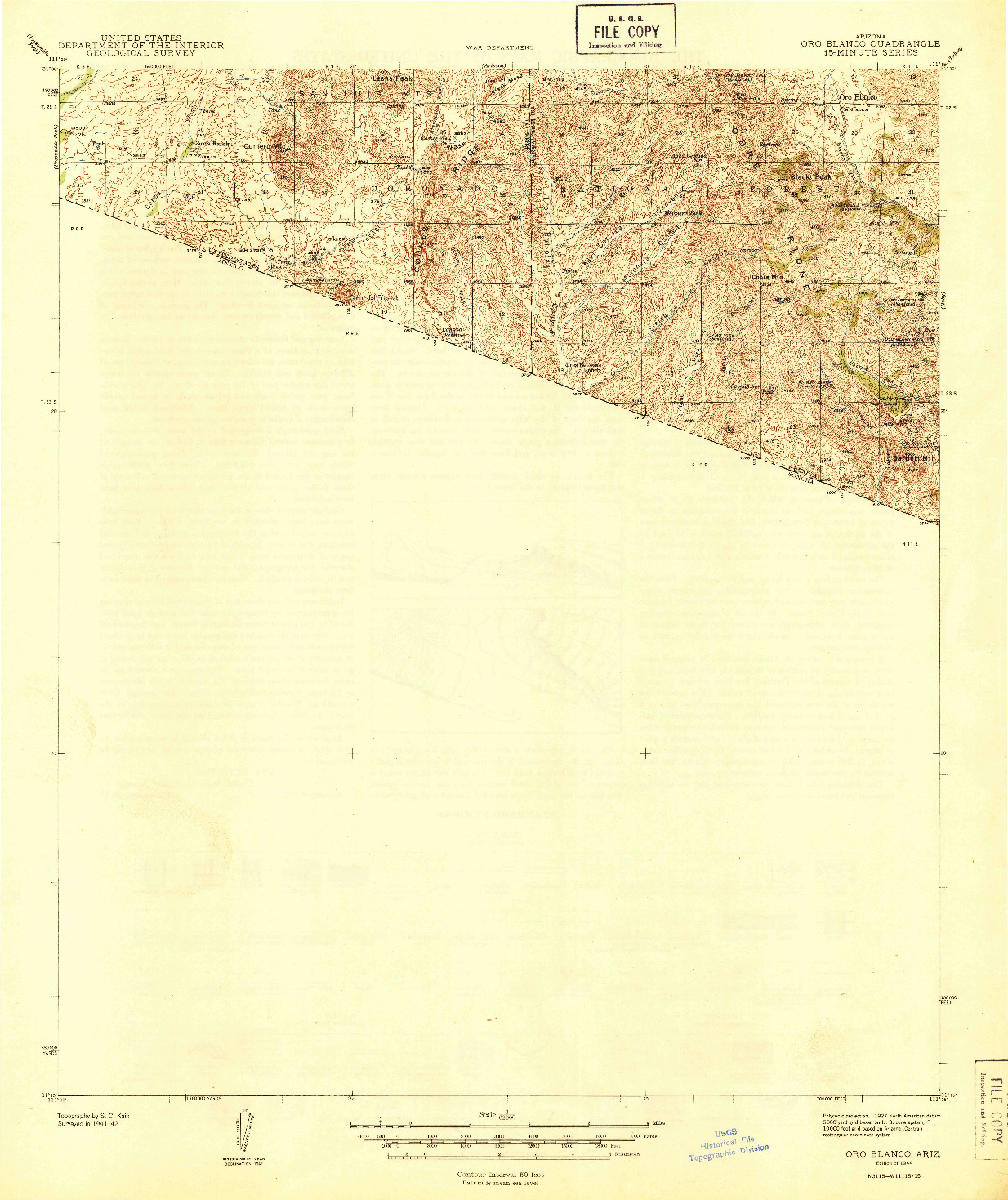 USGS 1:62500-SCALE QUADRANGLE FOR ORO BLANCO, AZ 1944