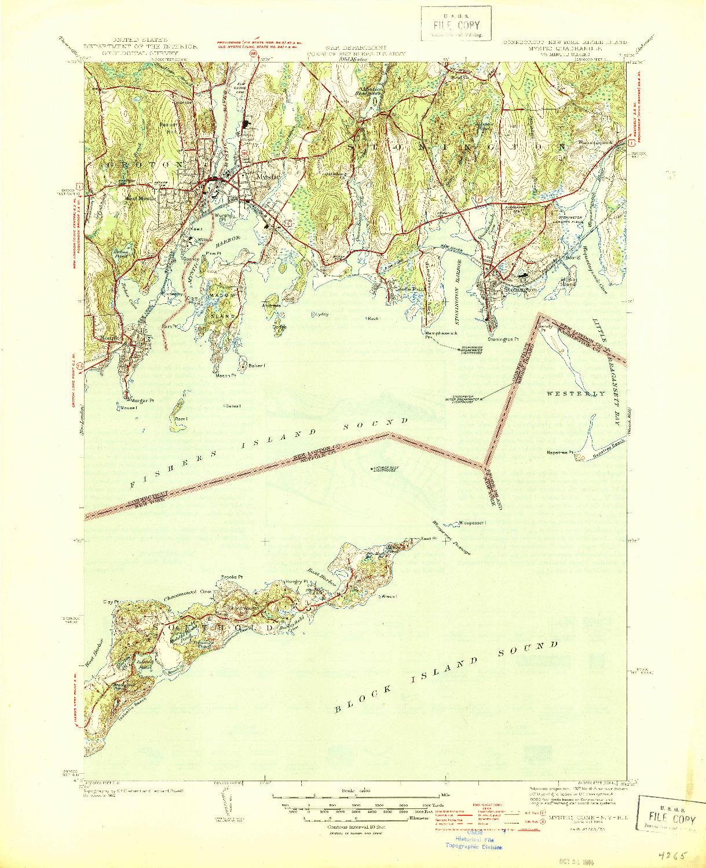 USGS 1:31680-SCALE QUADRANGLE FOR MYSTIC, CT 1944