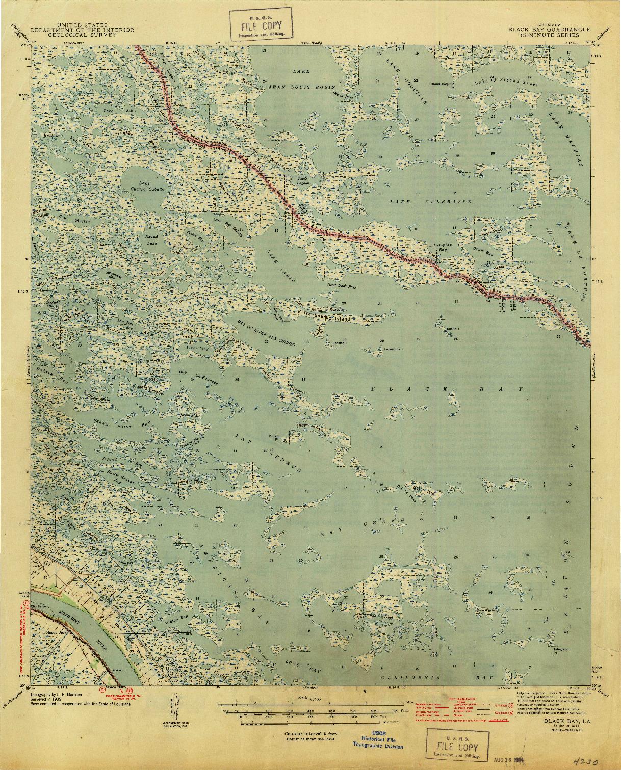 USGS 1:62500-SCALE QUADRANGLE FOR BLACK BAY, LA 1944