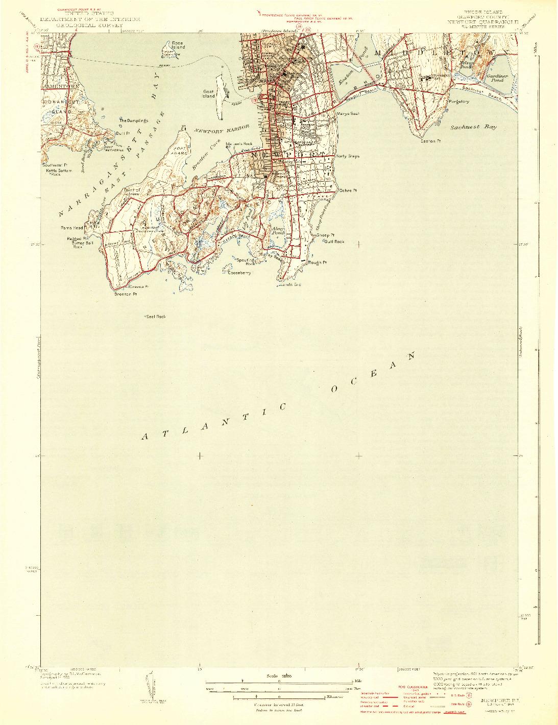 USGS 1:31680-SCALE QUADRANGLE FOR NEWPORT, RI 1944